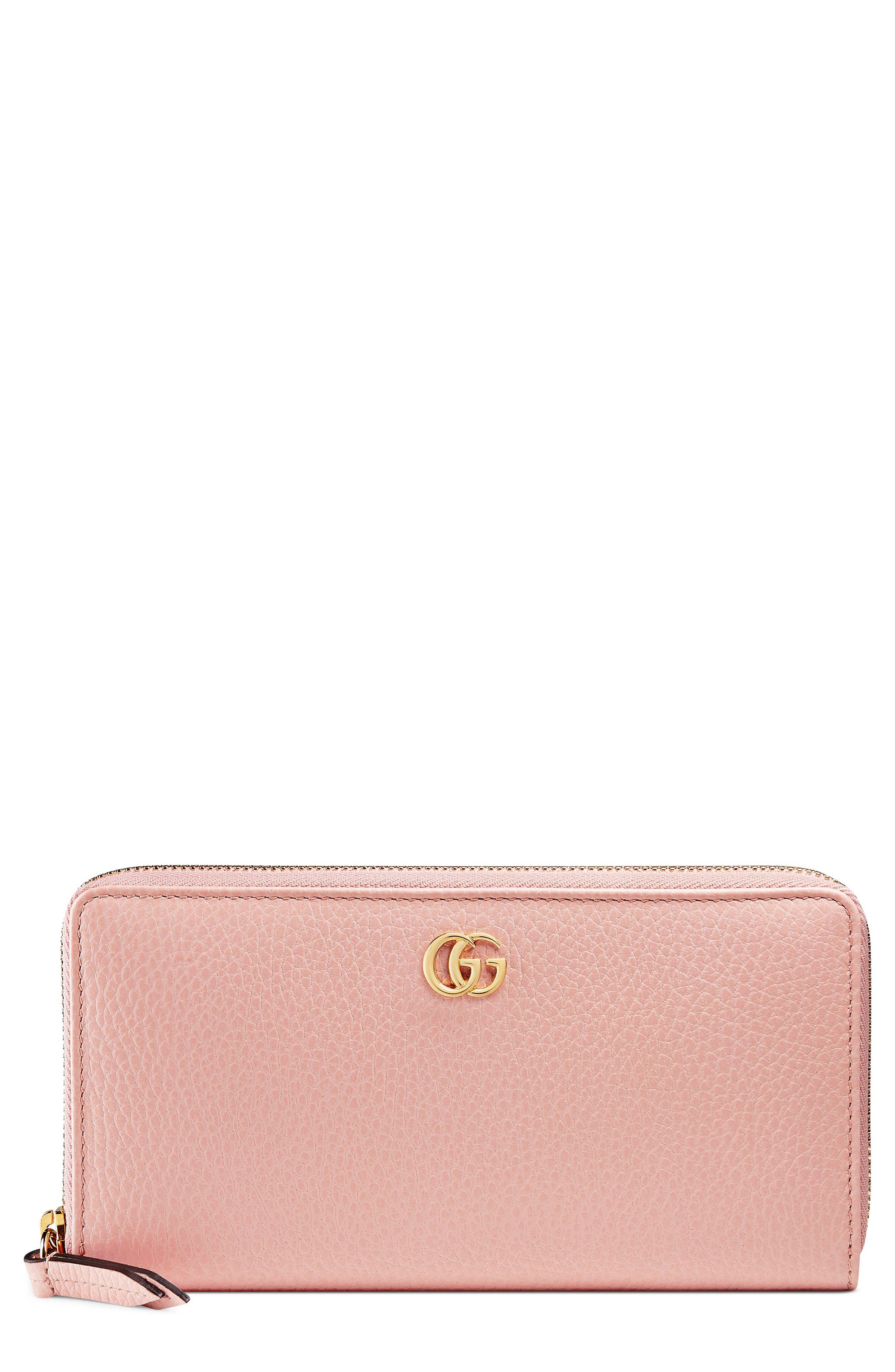 Petite Marmont Leather Zip Around Wallet,                         Main,                         color, PERFECT PINK