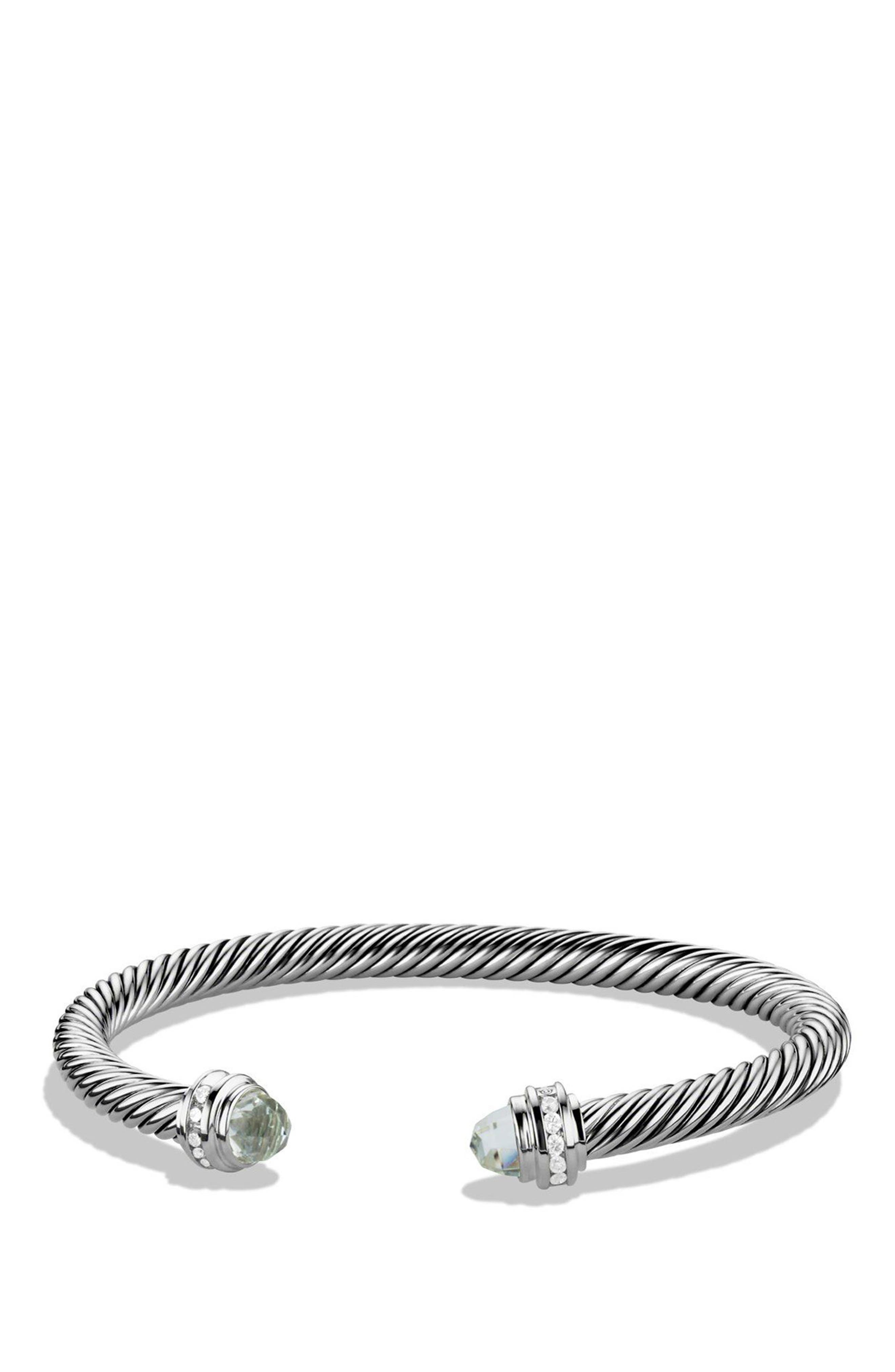Cable Classics Bracelet with Semiprecious Stones & Diamonds, 5mm,                             Main thumbnail 1, color,                             PRASIOLITE