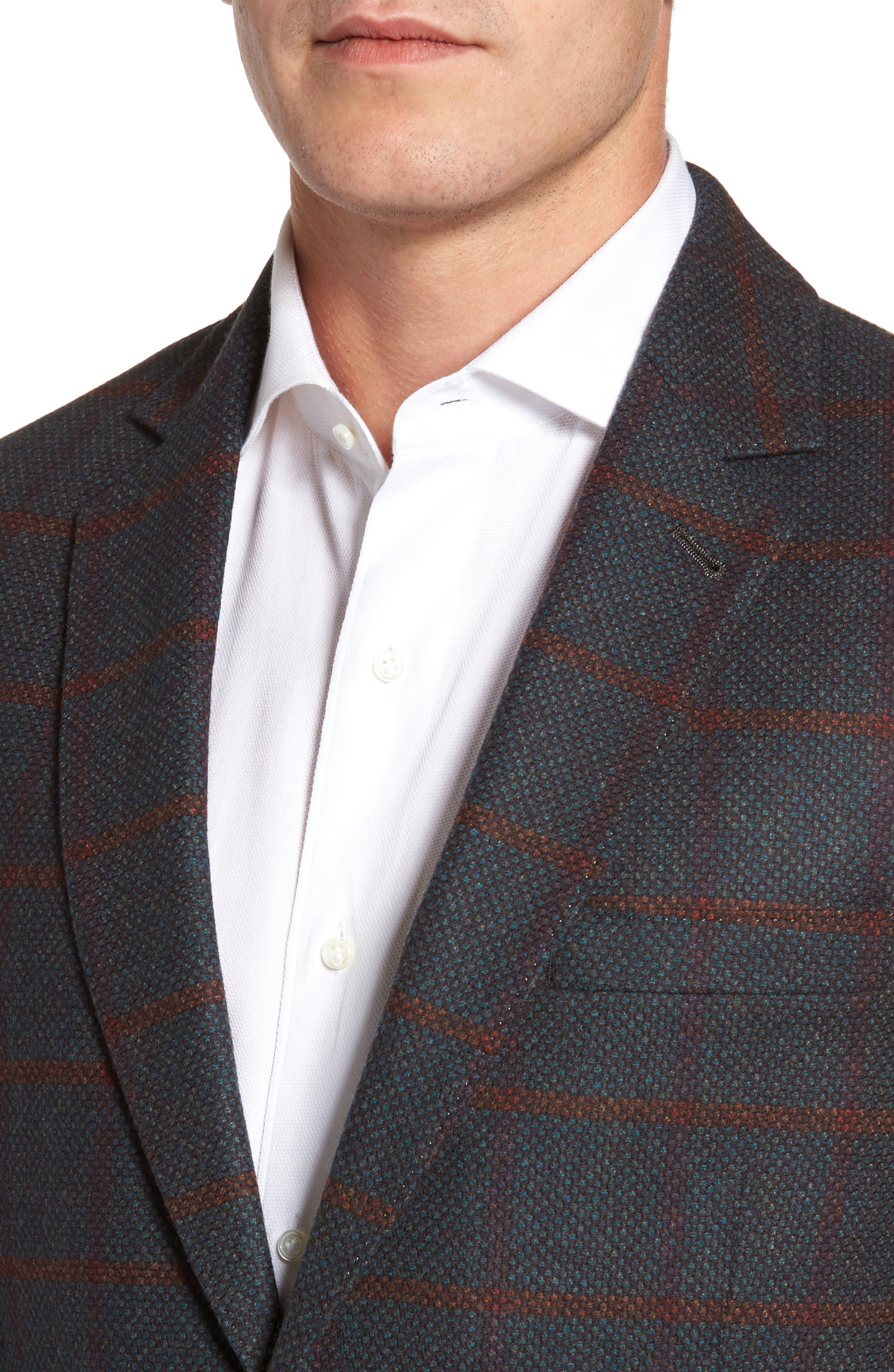 Classic Fit Windowpane Wool Sport Coat,                             Alternate thumbnail 8, color,