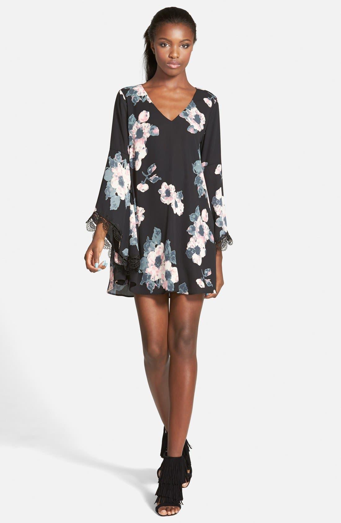 ASTR Lace Trim Shift Dress,                         Main,                         color, 001
