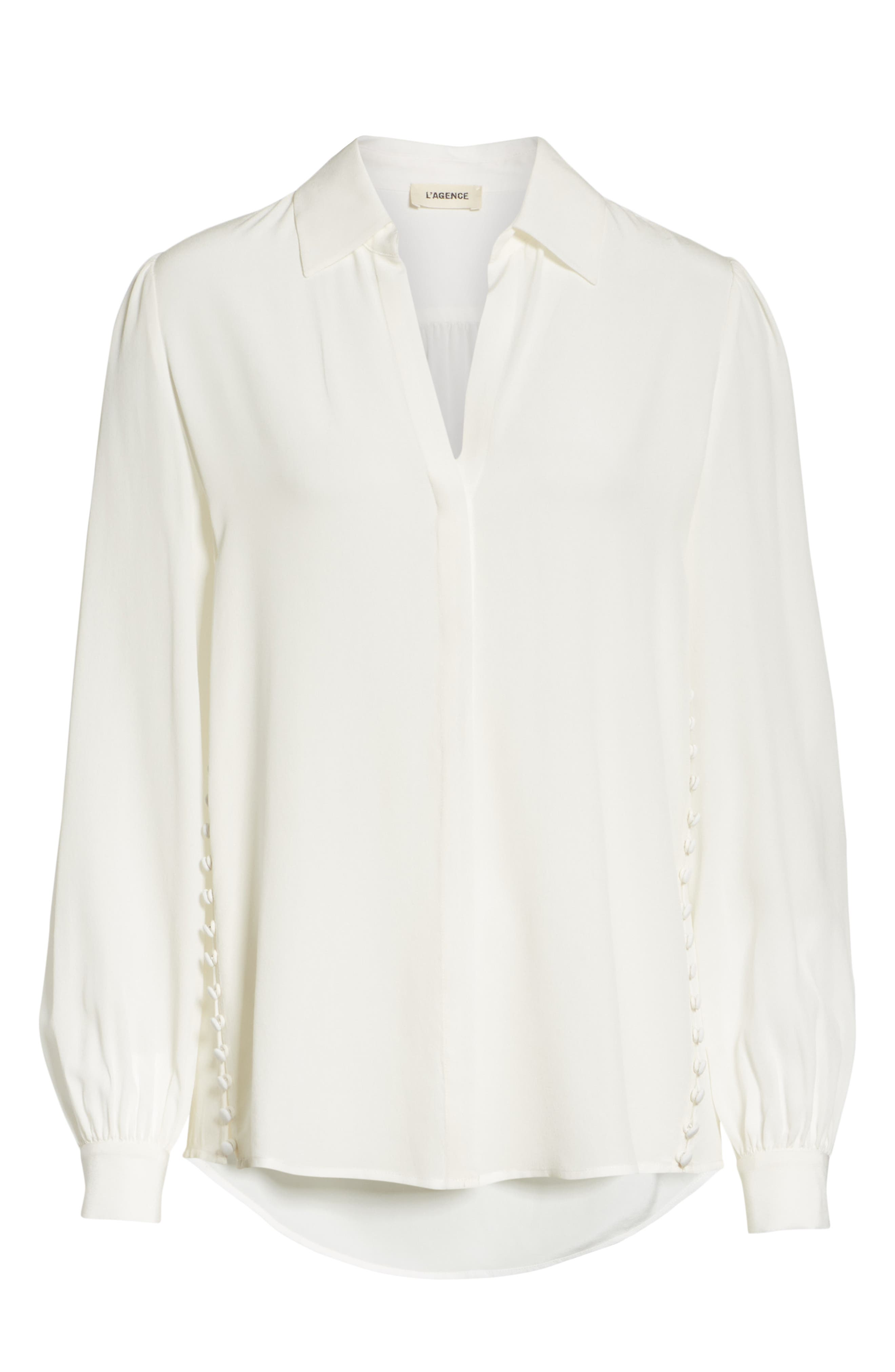 Cinzia Side Button Silk Blouse,                             Alternate thumbnail 6, color,                             IVORY