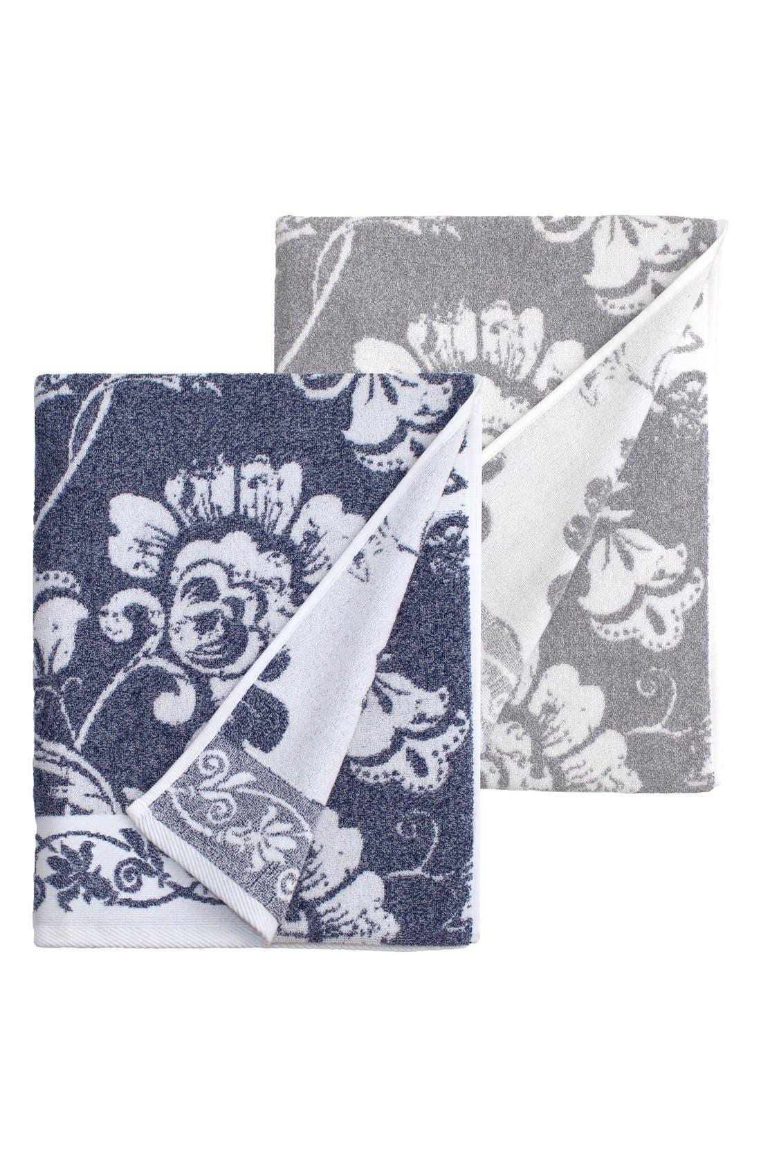 Linum 'Penelope' Turkish Cotton Bath Towels,                             Alternate thumbnail 3, color,                             OCEAN BLUE