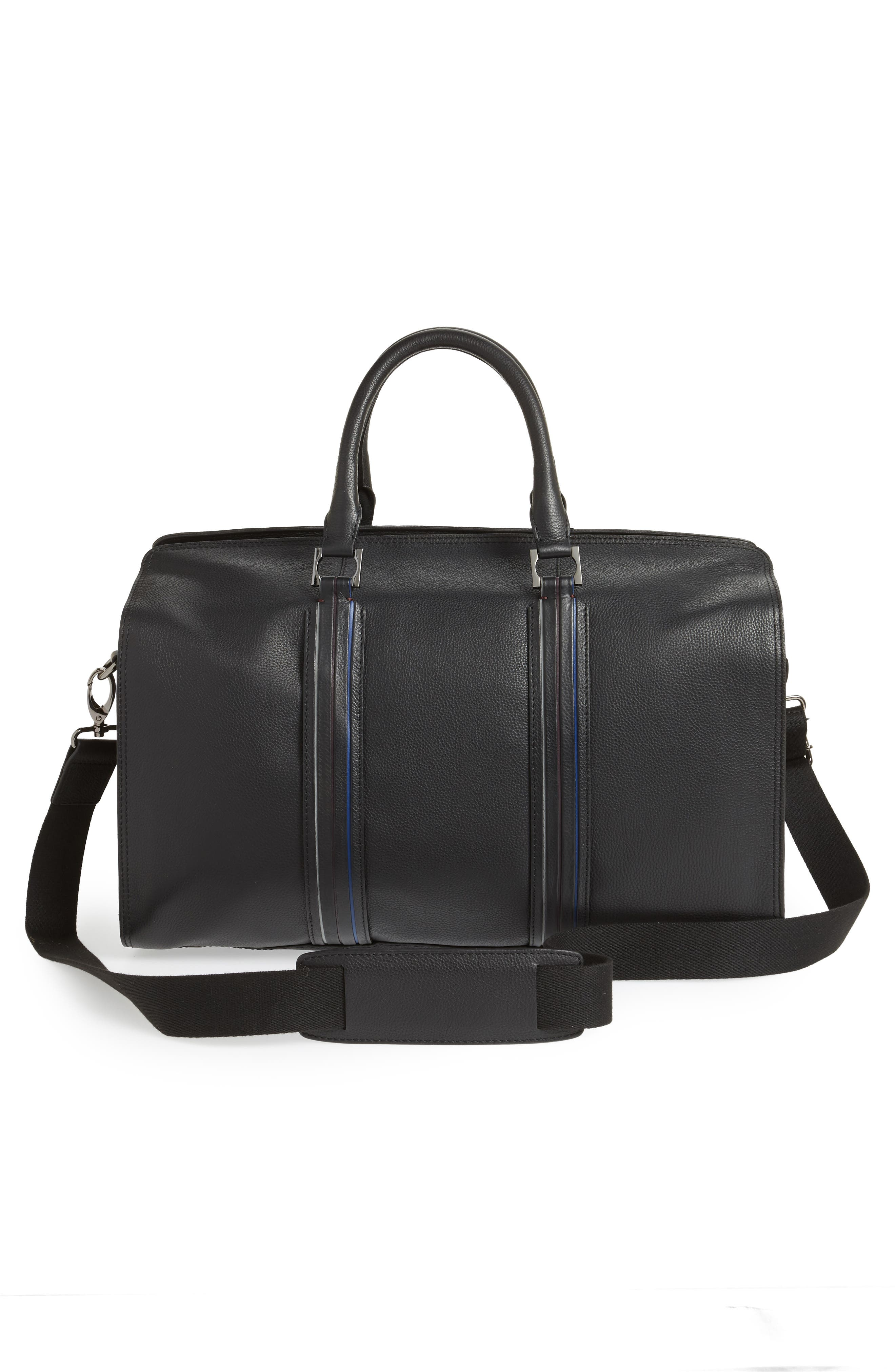 TED BAKER LONDON,                             Geeves Stripe Leather Duffel Bag,                             Alternate thumbnail 3, color,                             001
