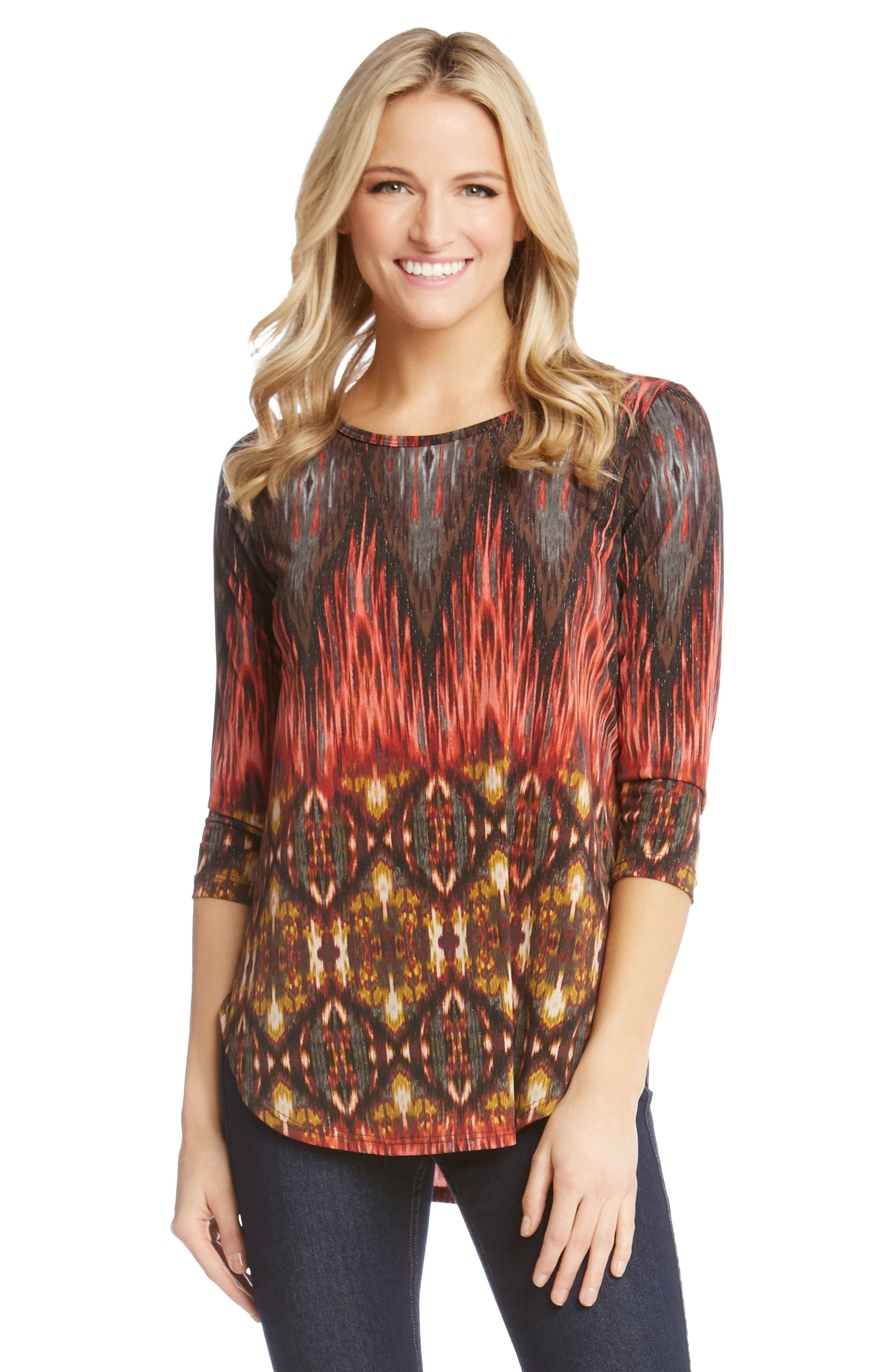 Desert Print Shirttail Tee,                             Alternate thumbnail 3, color,