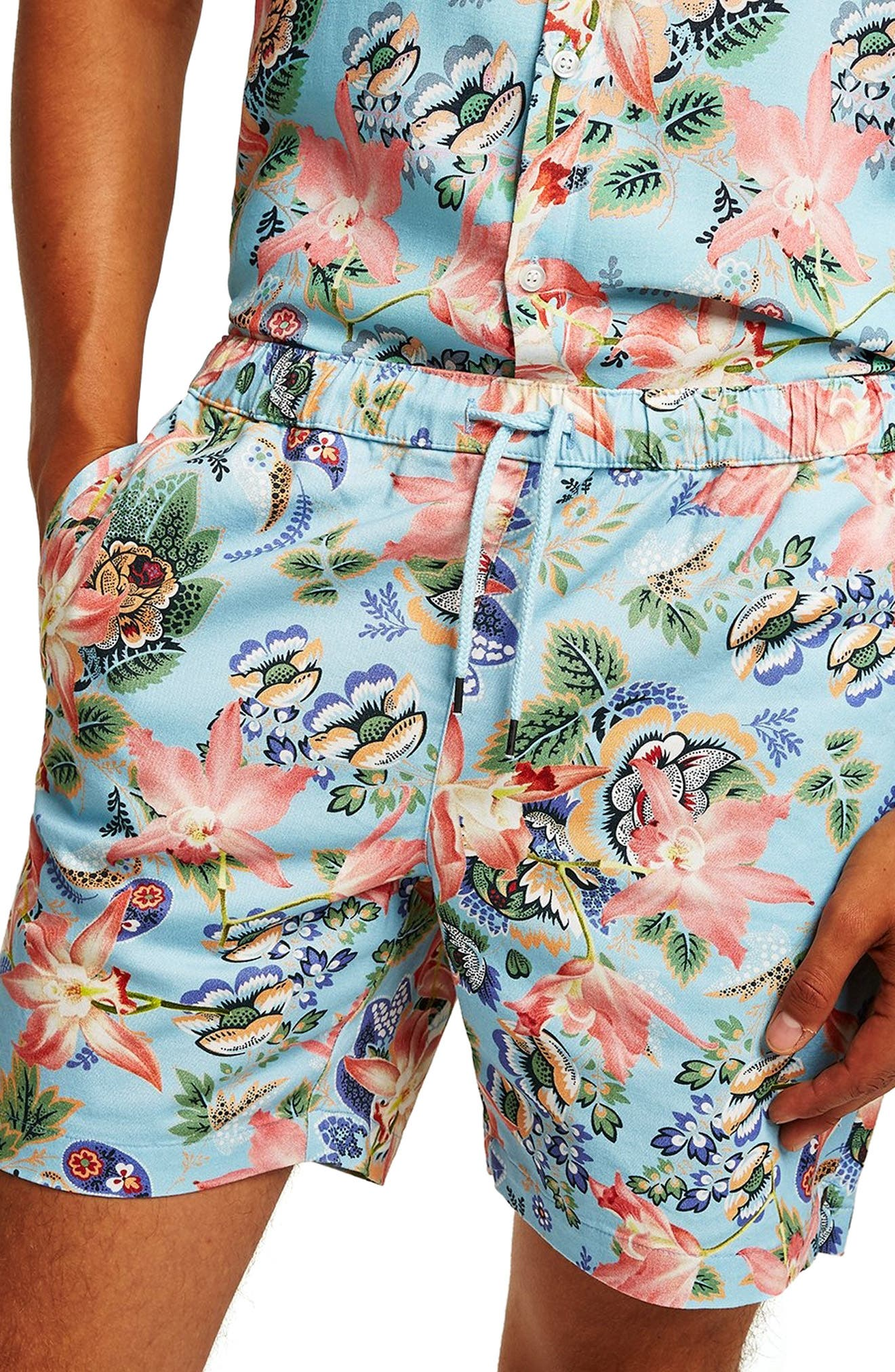 Slim Fit Orchid Print Shorts,                             Alternate thumbnail 4, color,                             400