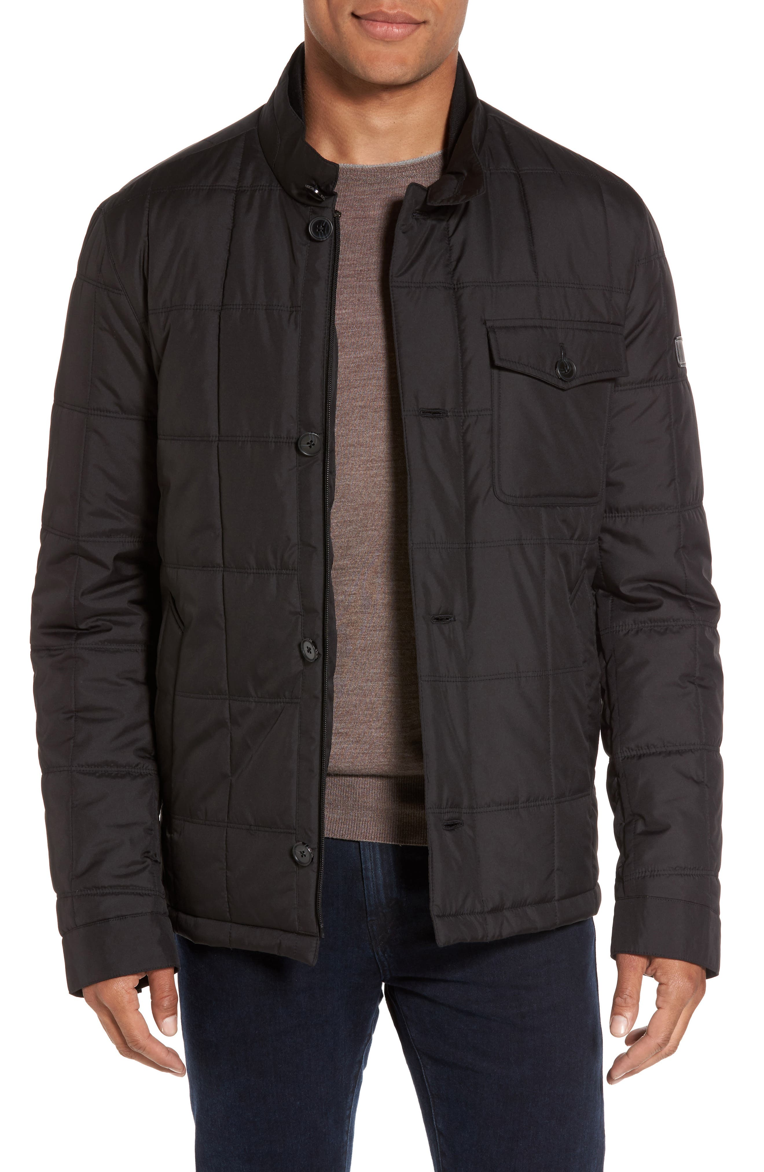 Regular Fit Quilted Jacket,                             Main thumbnail 1, color,                             001