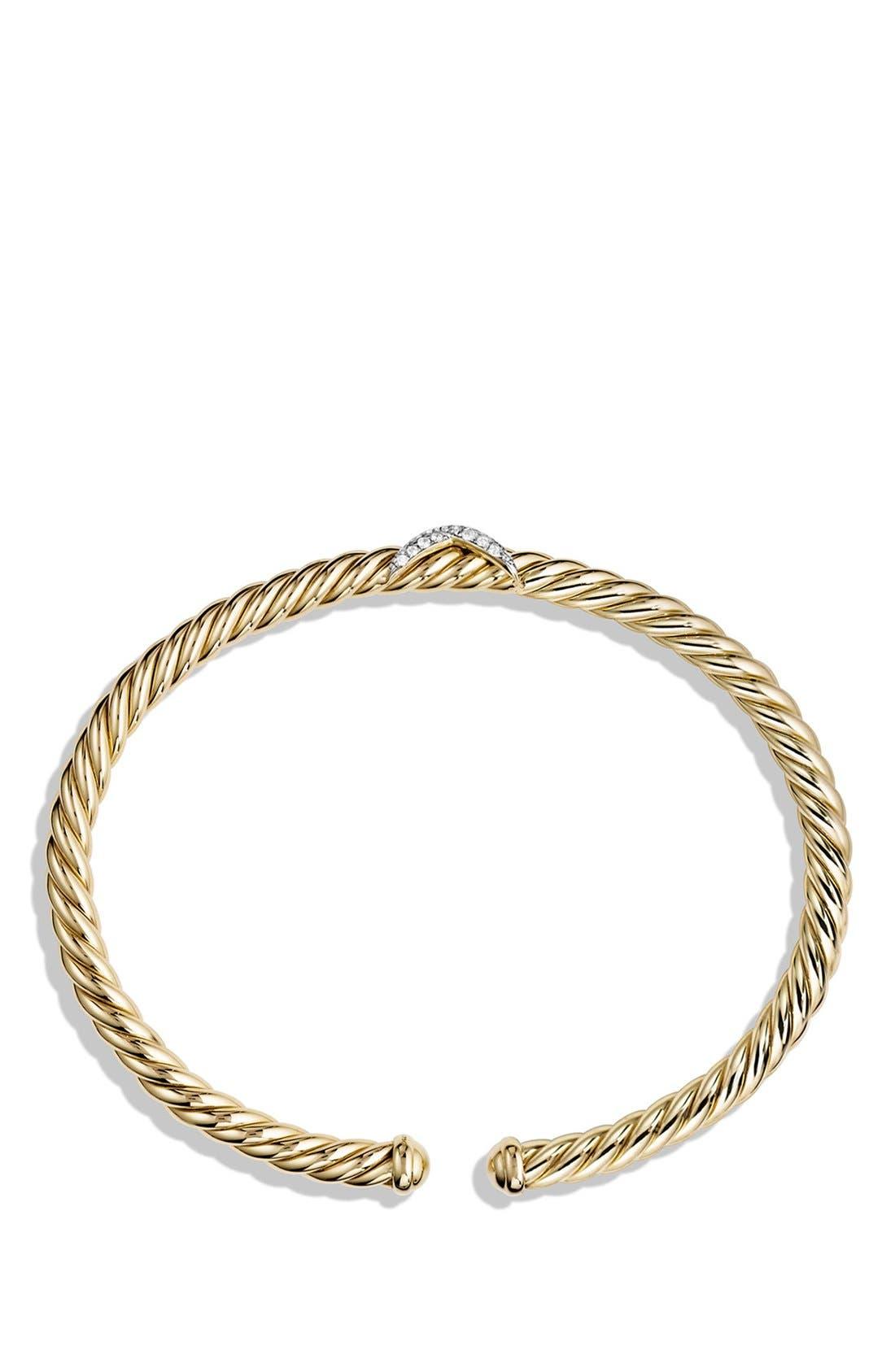 'X - Cablespira' Bracelet with Diamonds in 18k Gold,                             Alternate thumbnail 2, color,                             DIAMOND