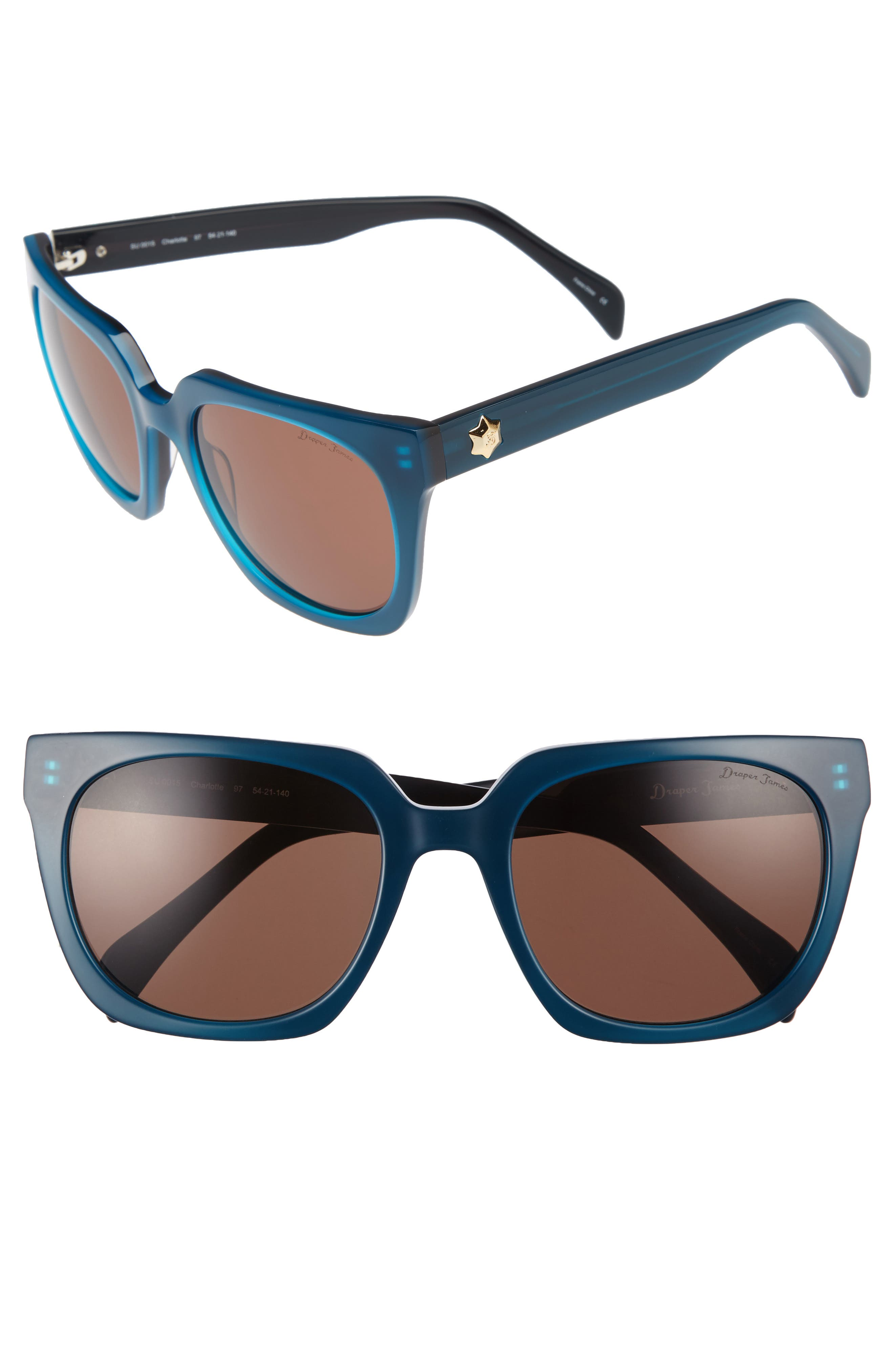 54mm Square Sunglasses,                             Main thumbnail 1, color,                             BLUE