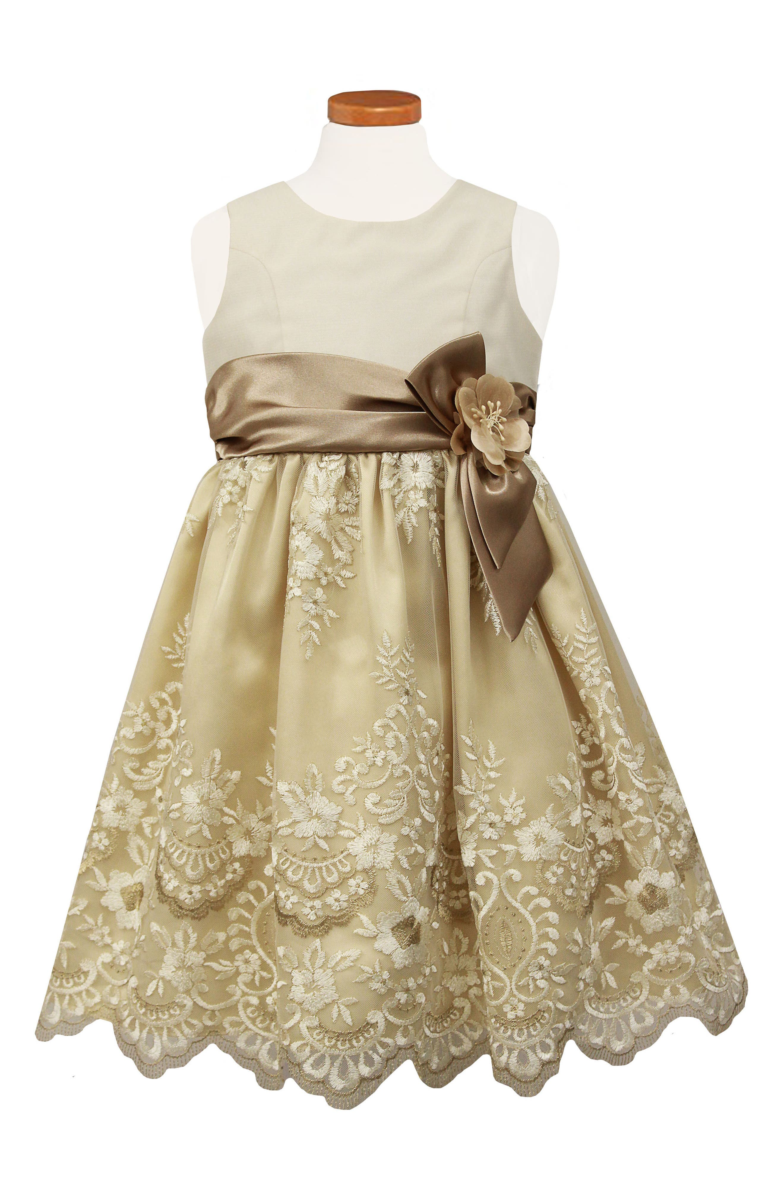 Embroidered Fit & Flare Dress,                             Main thumbnail 1, color,                             CHAMPAGNE
