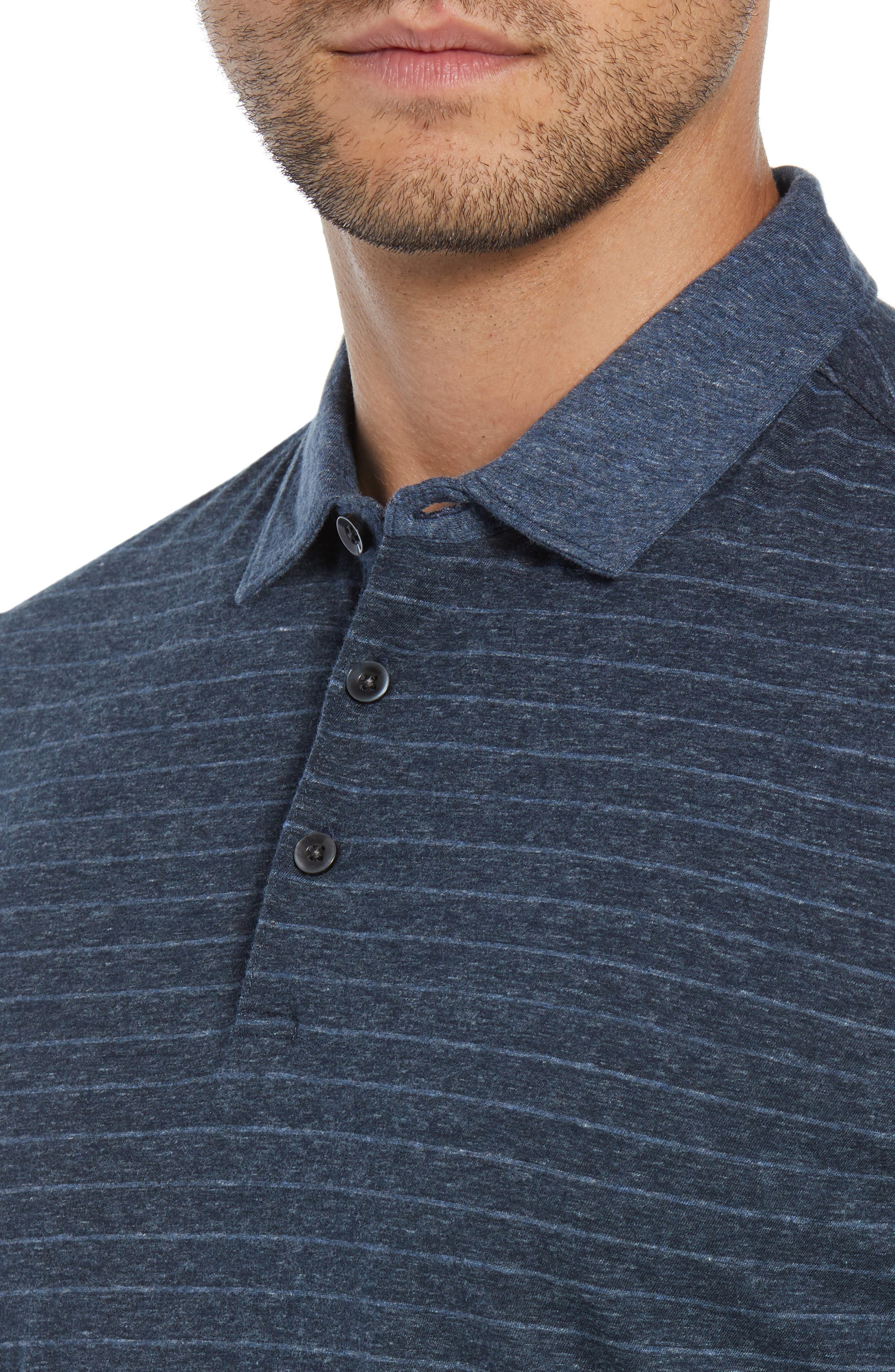 Wellington Regular Fit Long Sleeve Polo,                             Alternate thumbnail 4, color,                             NAVY