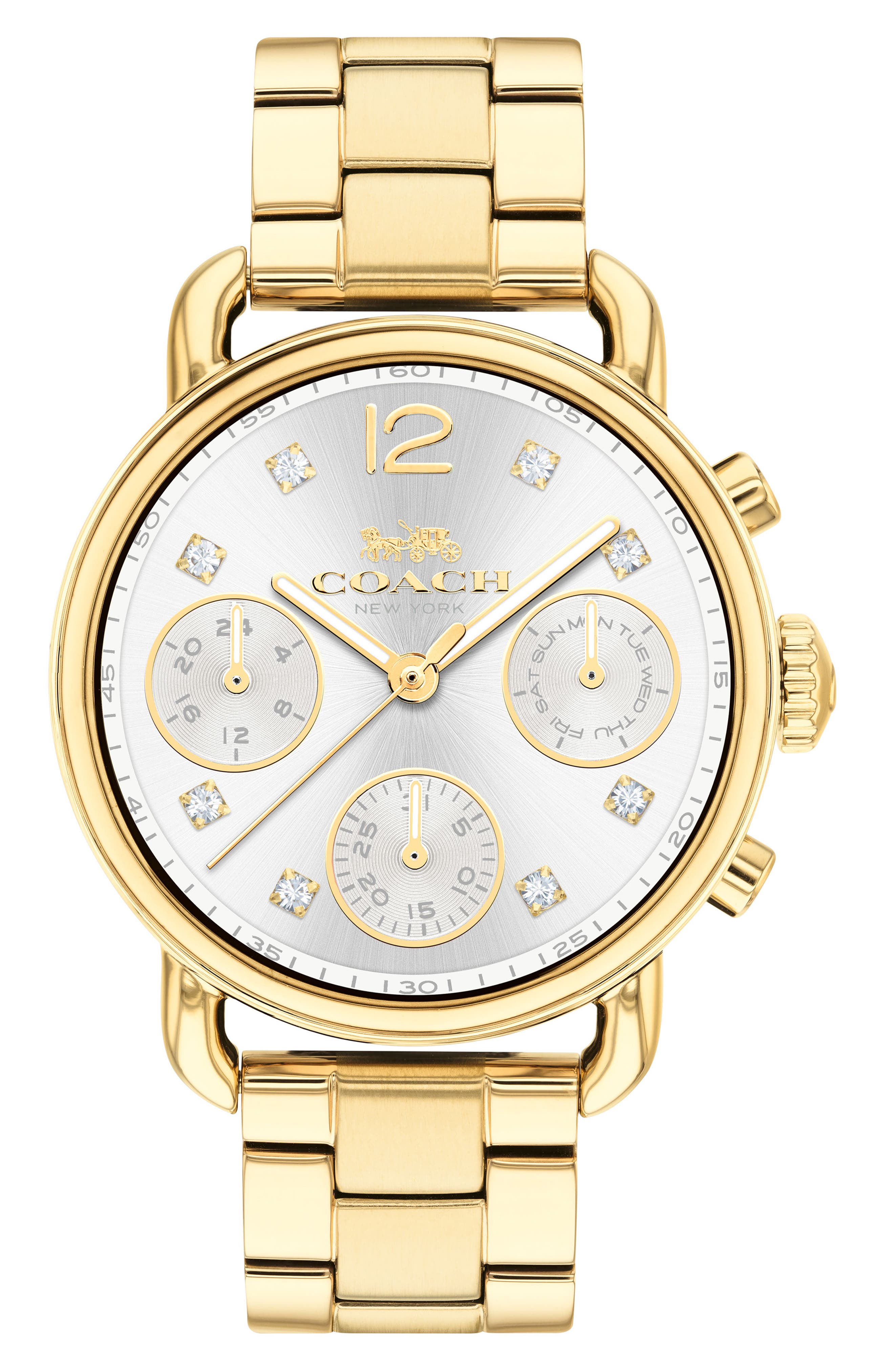 Delancey Chronograph Crystal Accent Bracelet Watch, 36mm,                             Main thumbnail 1, color,                             GOLD
