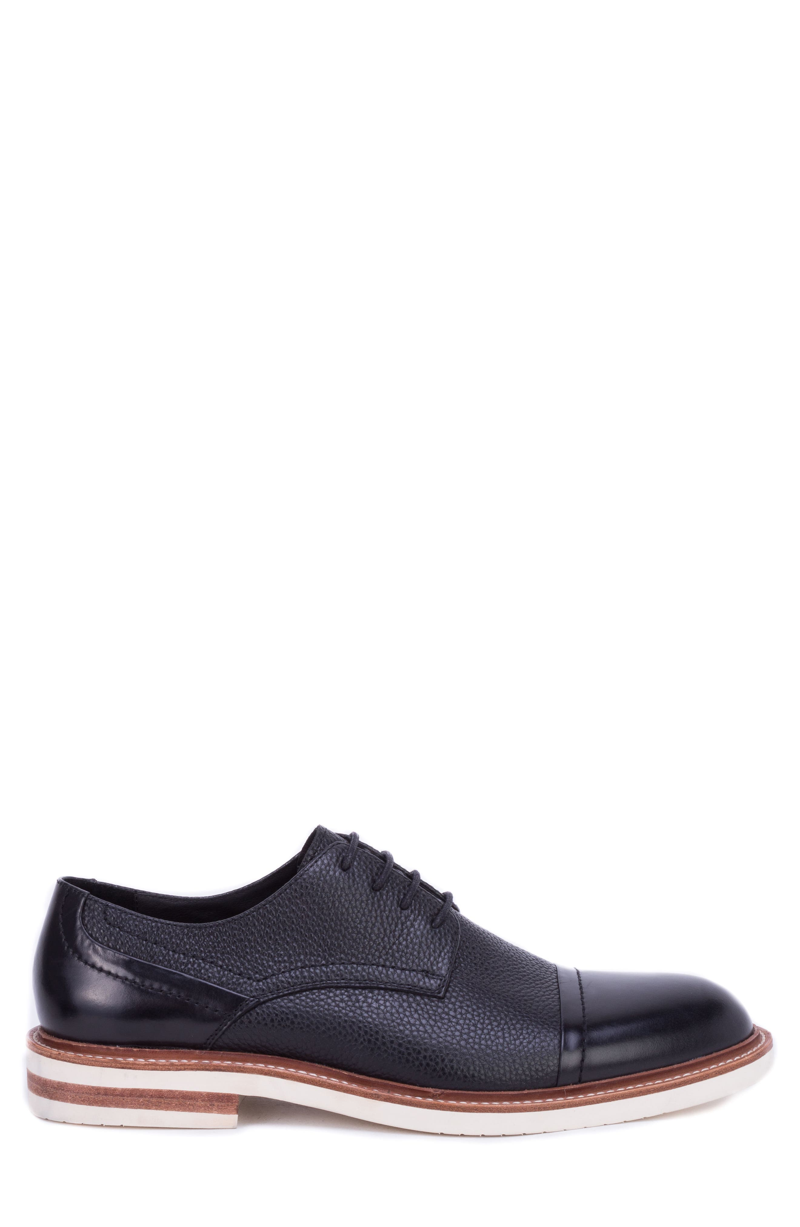 Wensley Cap Toe Derby,                             Alternate thumbnail 3, color,                             BLACK LEATHER