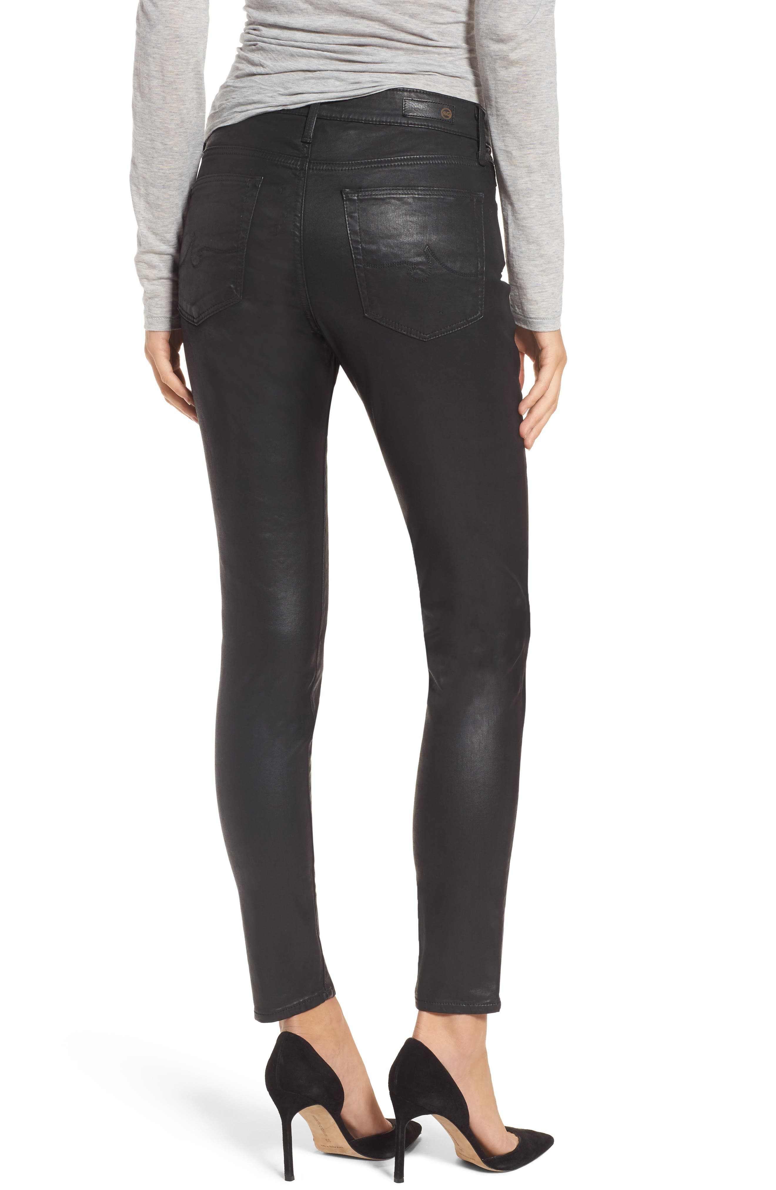 Farrah High Waist Ankle Skinny Jeans,                             Alternate thumbnail 2, color,                             LEATHERETTE SUPER BLACK