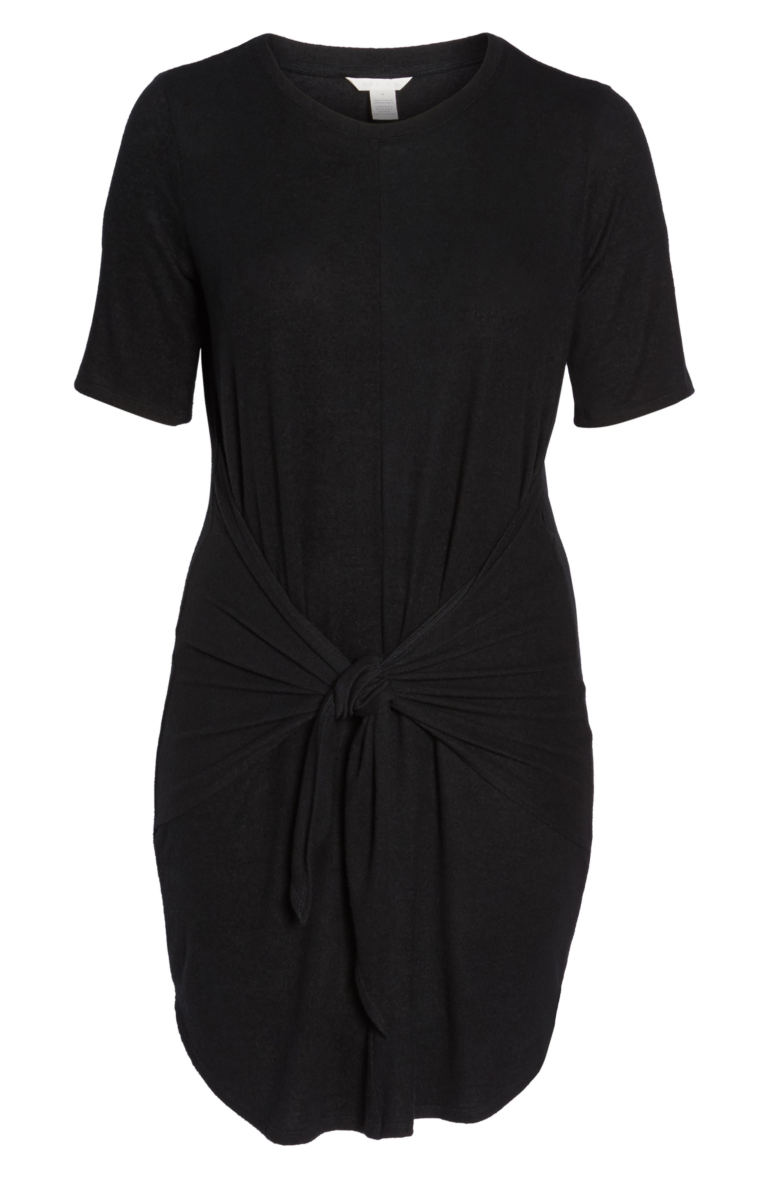 Off-Duty Tie Front Knit Dress,                             Alternate thumbnail 7, color,                             001