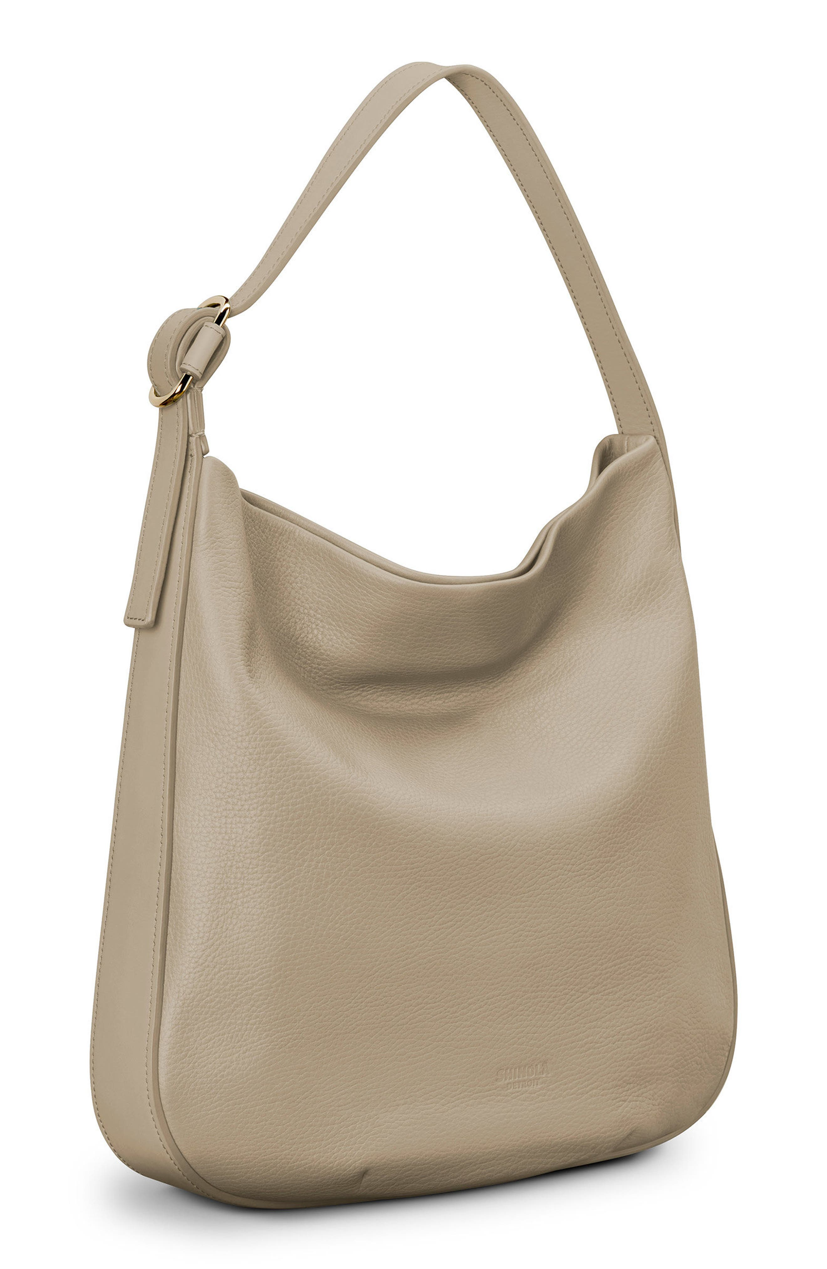 Birdy Grained Leather Hobo Bag,                             Alternate thumbnail 5, color,                             STONE