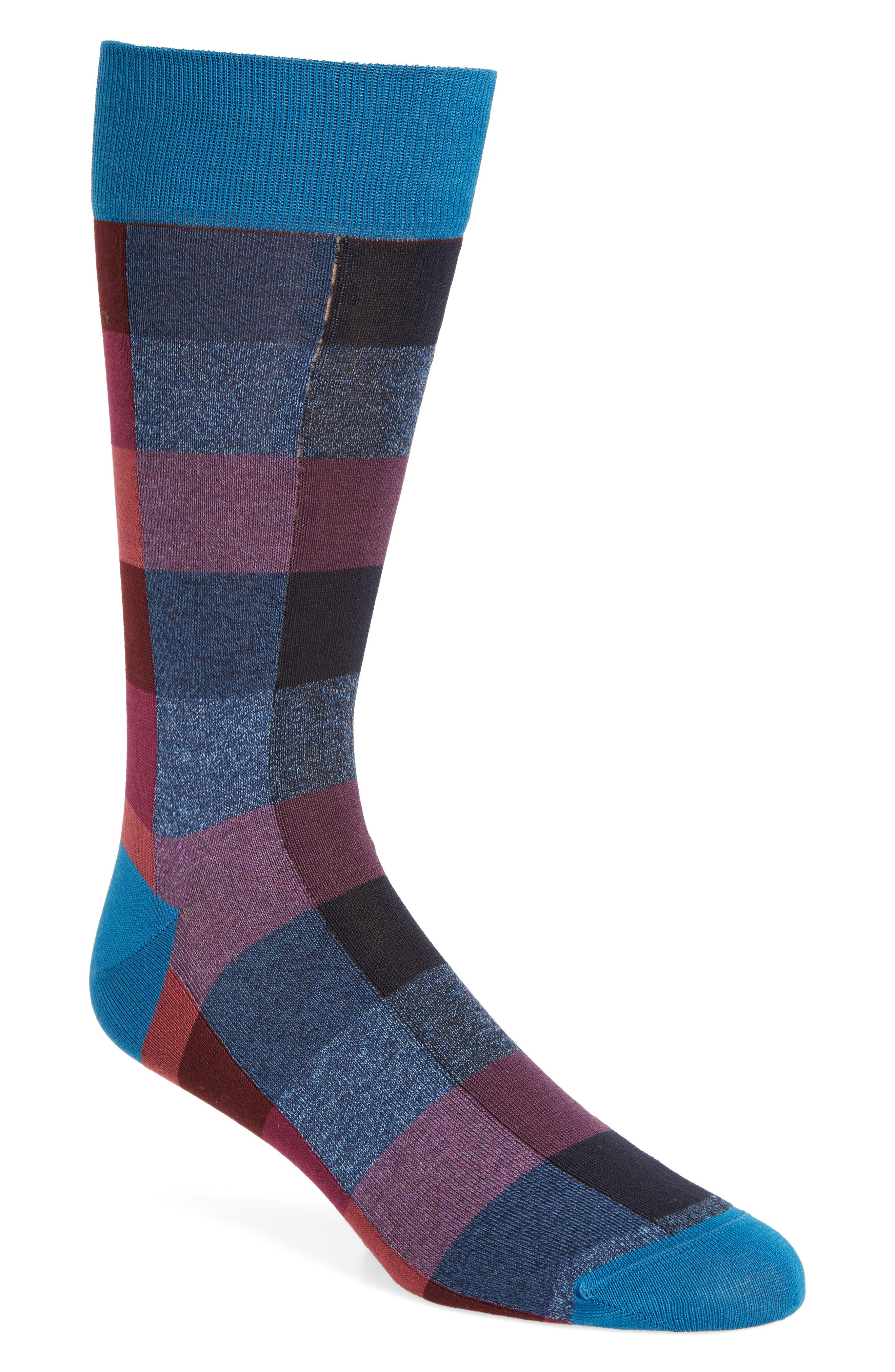 Plaid Crew Socks,                             Main thumbnail 1, color,                             408