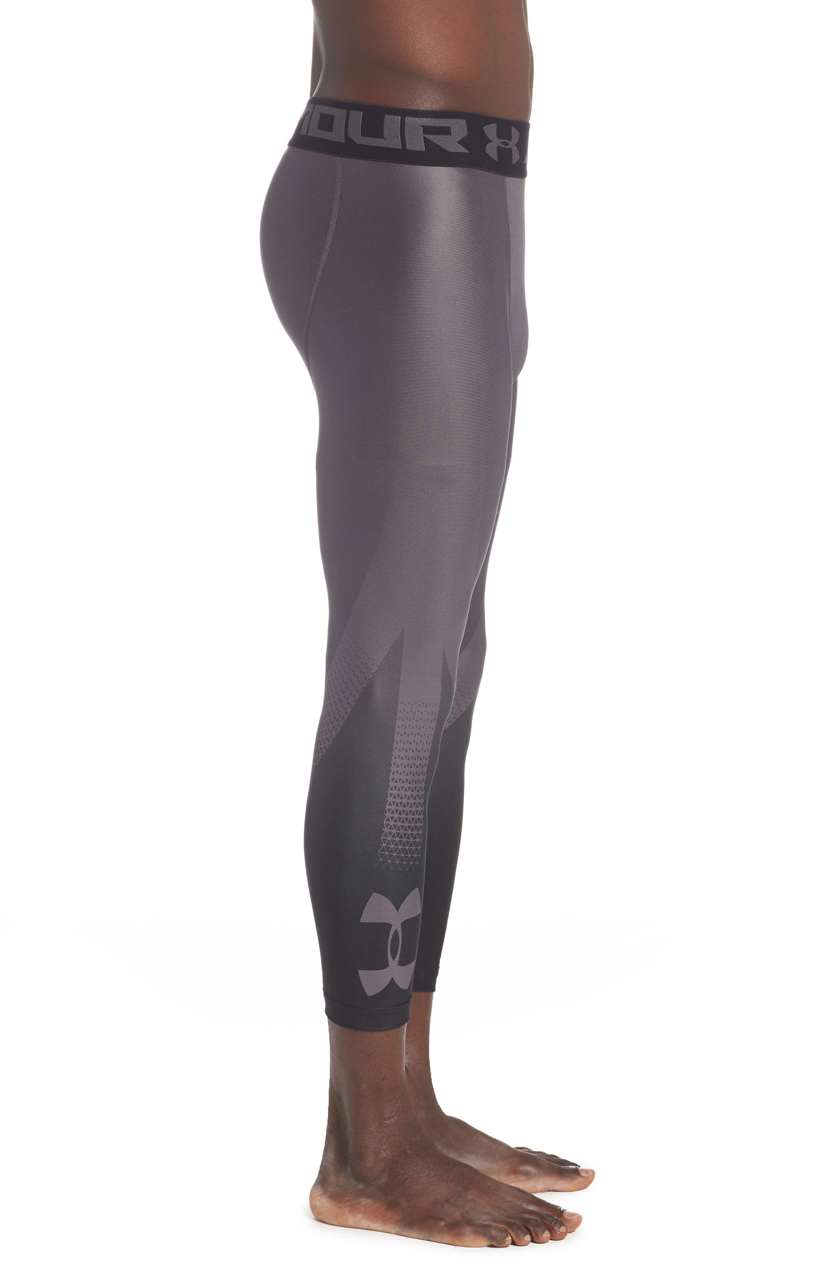 HeatGear<sup>®</sup> 2.0 Three-Quarter Leggings,                             Alternate thumbnail 3, color,                             CHARCOAL
