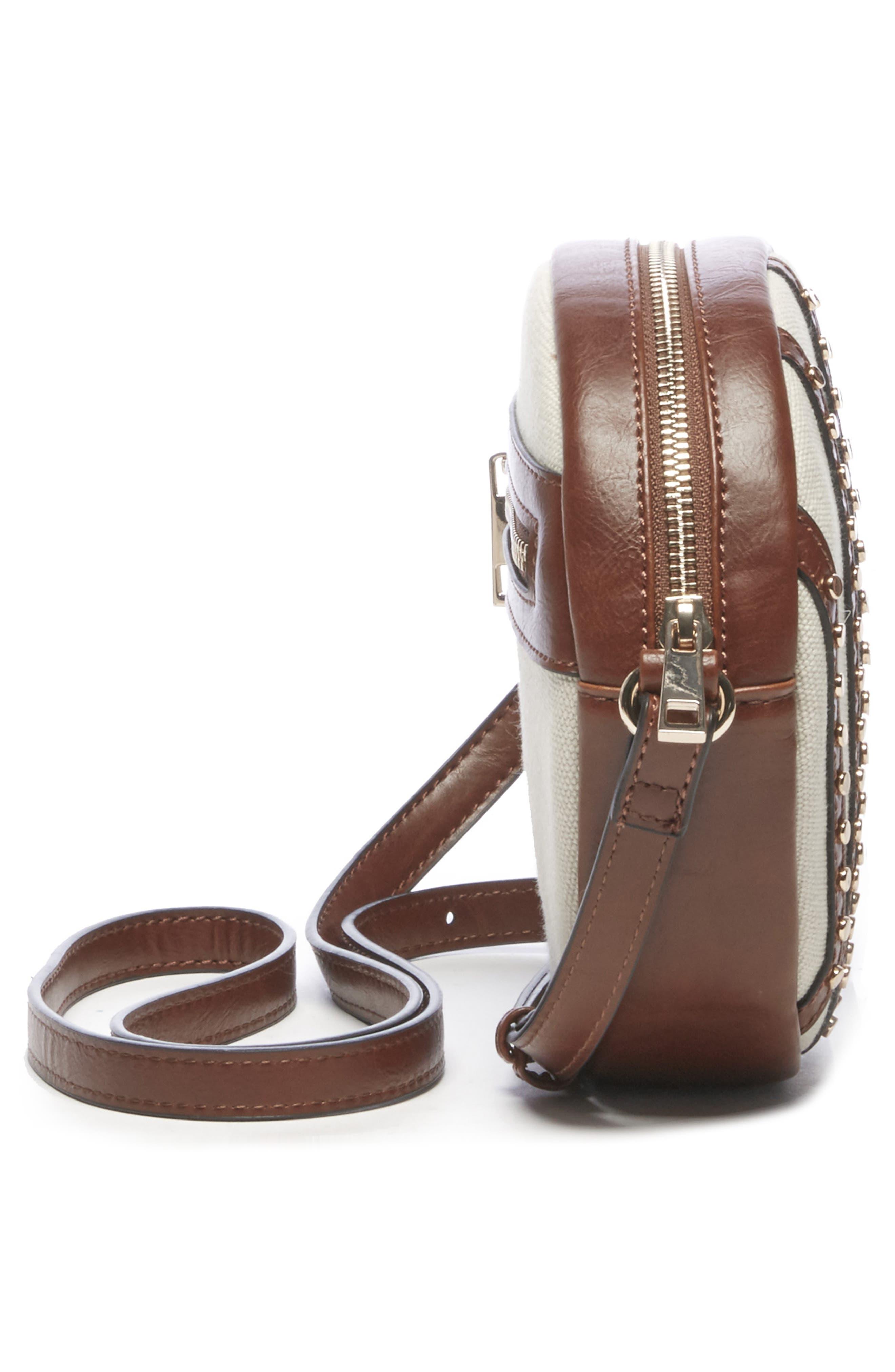 Aira Studded Crossbody Bag,                             Alternate thumbnail 4, color,                             NATURAL