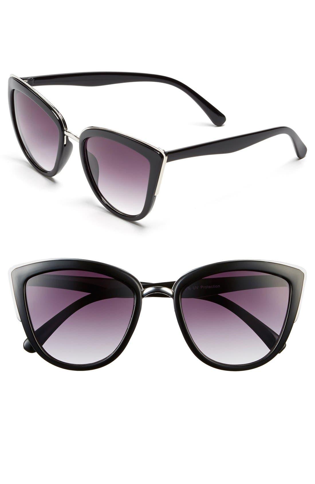 55mm Metal Rim Cat Eye Sunglasses,                             Main thumbnail 1, color,                             001
