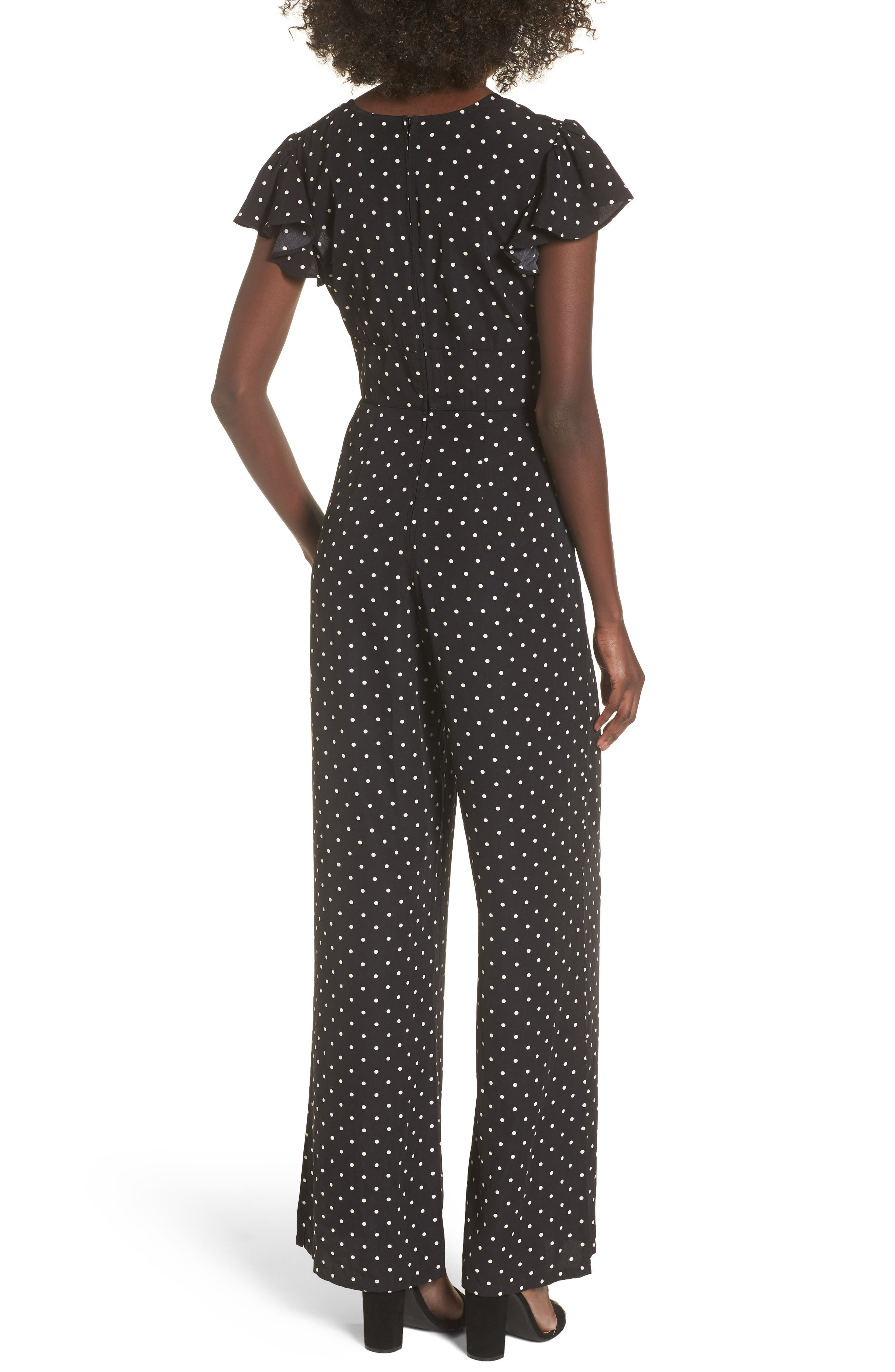 Tie Front Wide Leg Jumpsuit,                             Alternate thumbnail 3, color,