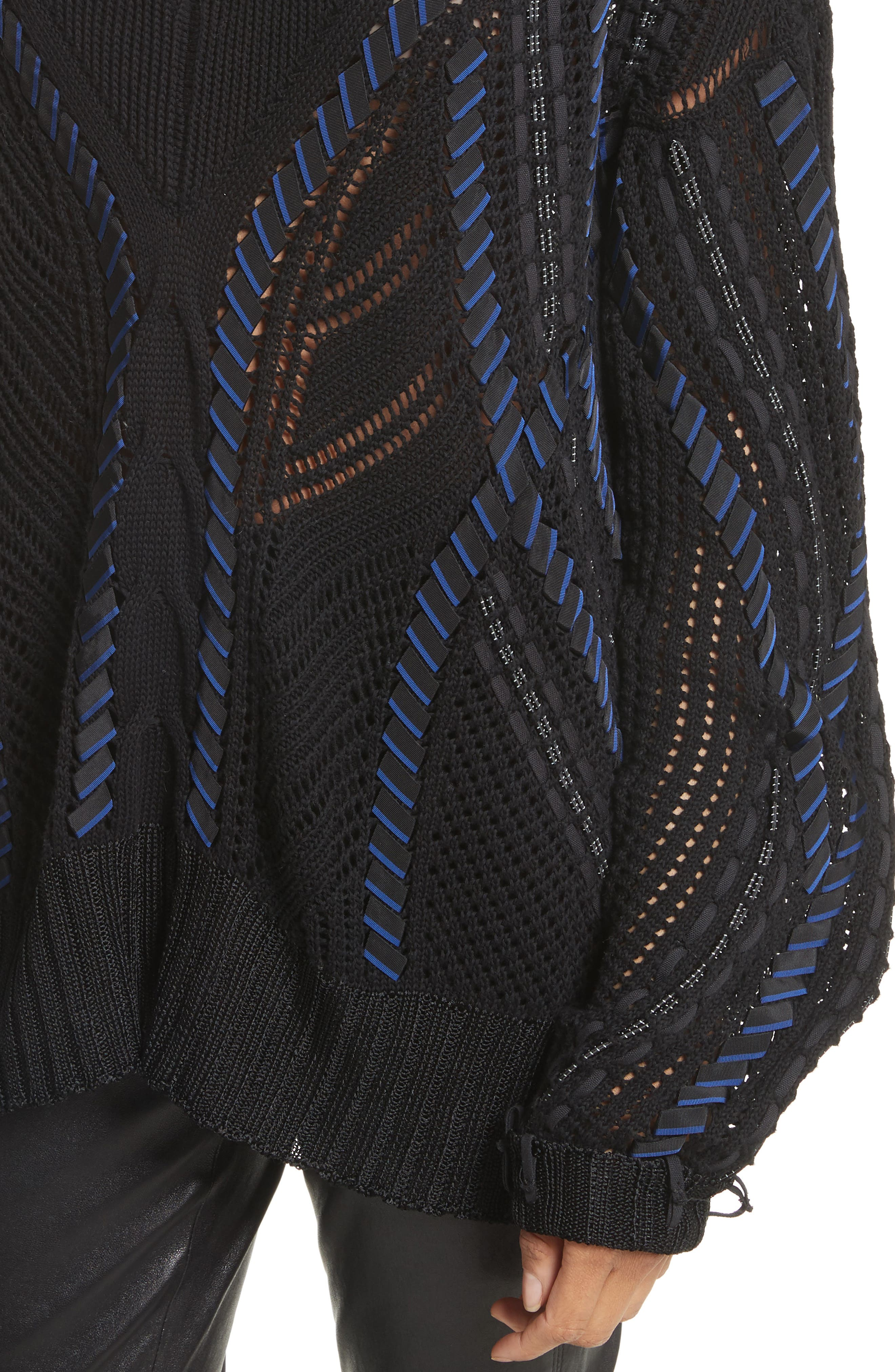 Lucie Pointelle Knit Cotton Blend Sweater,                             Alternate thumbnail 4, color,                             001
