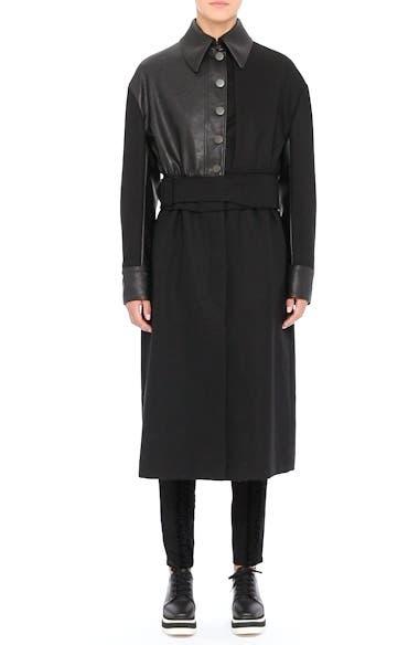 Eden Alter Leather Trim Wool Coat, video thumbnail