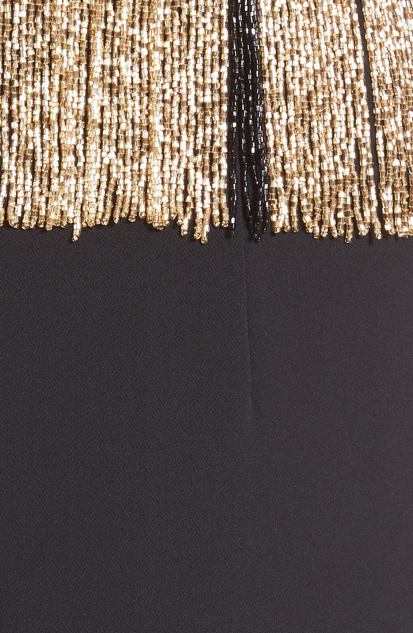 Beaded Fringe Waist Dress,                             Alternate thumbnail 5, color,