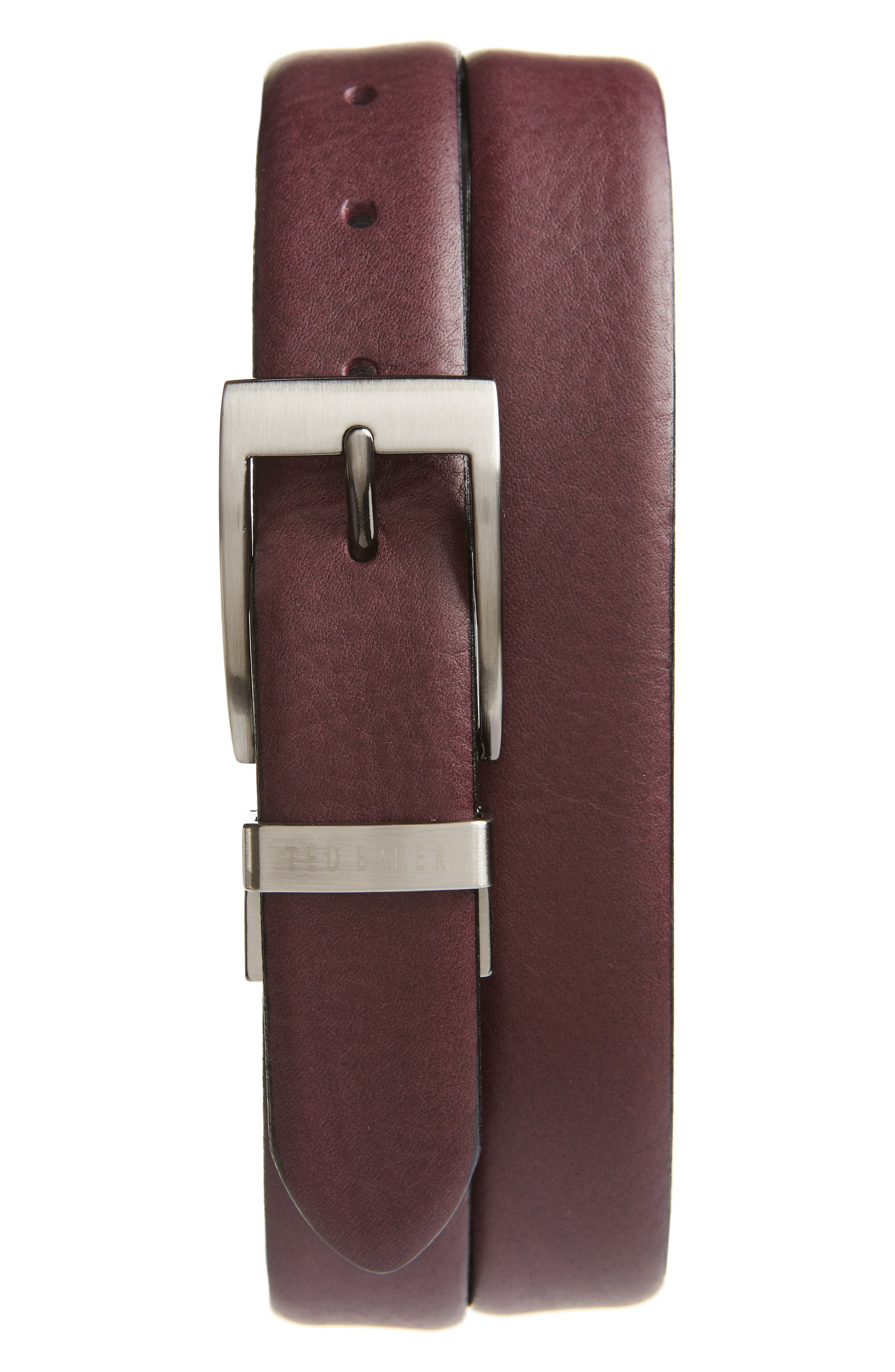Ted Baker London Reversible Leather Belt, Deep Purple