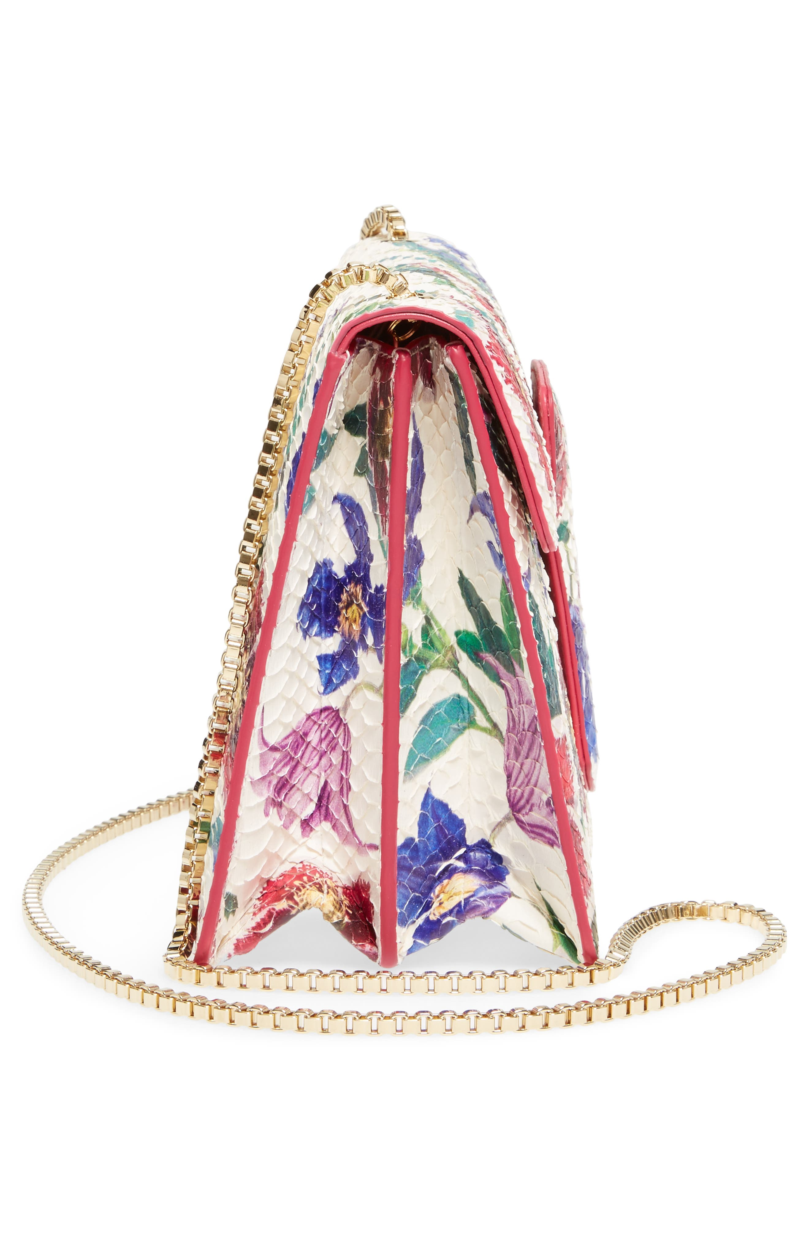 Small Thalia Floral Print Genuine Snakeskin Shoulder Bag,                             Alternate thumbnail 5, color,                             376