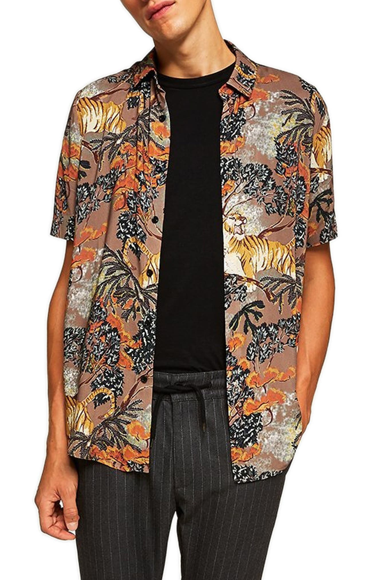 Suburb Tiger Print Shirt,                             Main thumbnail 1, color,                             ORANGE MULTI