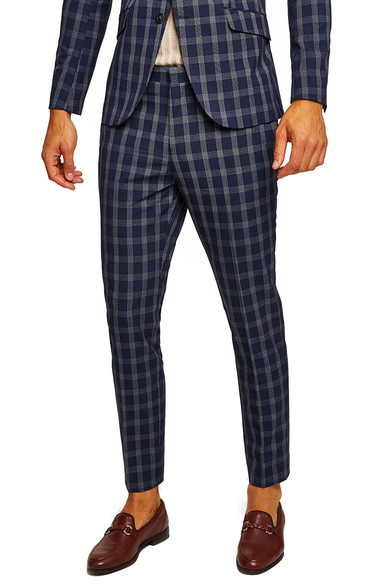 TOPMAN Muscle Fit Check Suit Trousers, Main, color, 411
