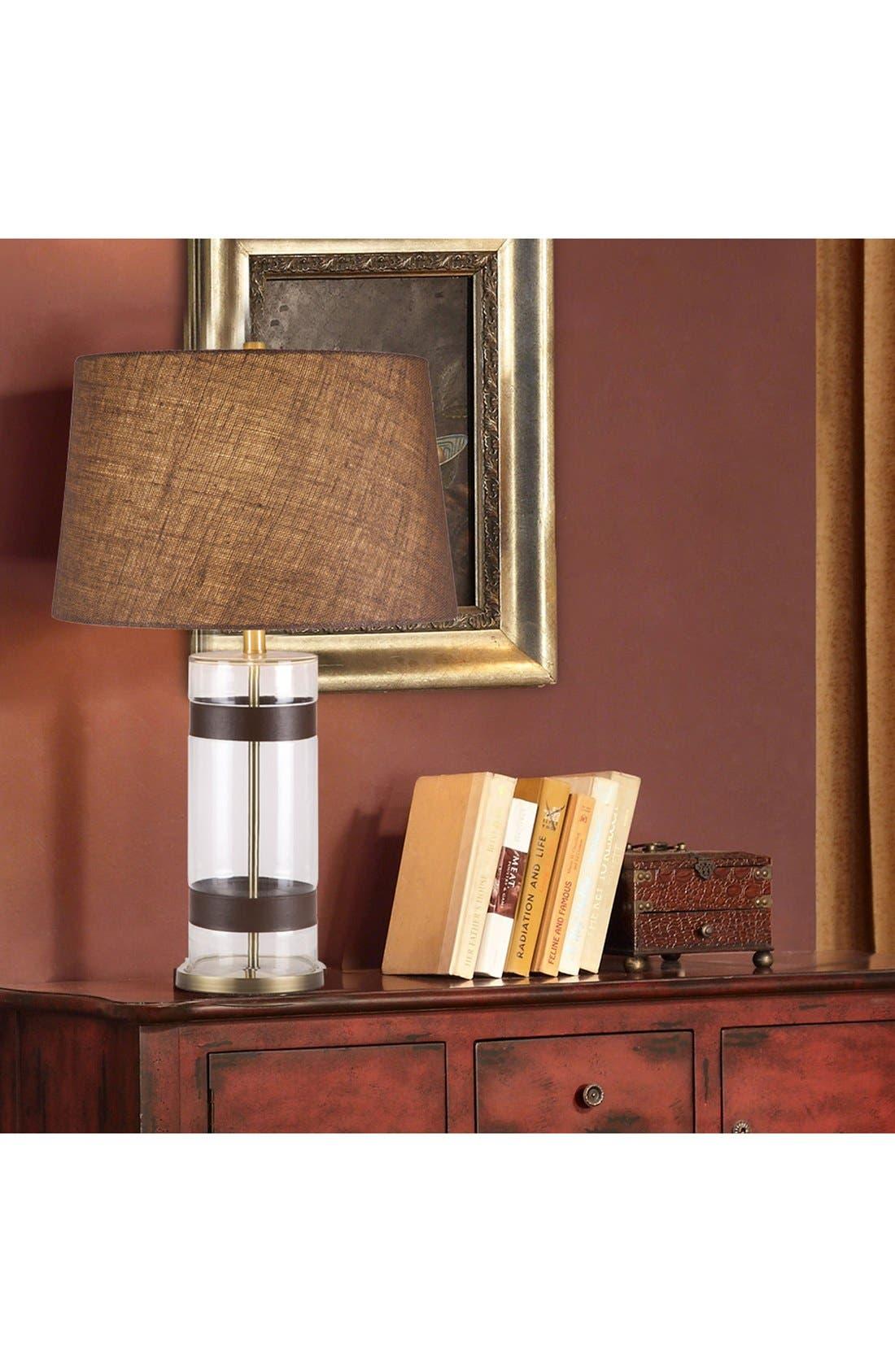 JAlexander Glass & Faux Leather Table Lamp,                             Alternate thumbnail 2, color,                             100