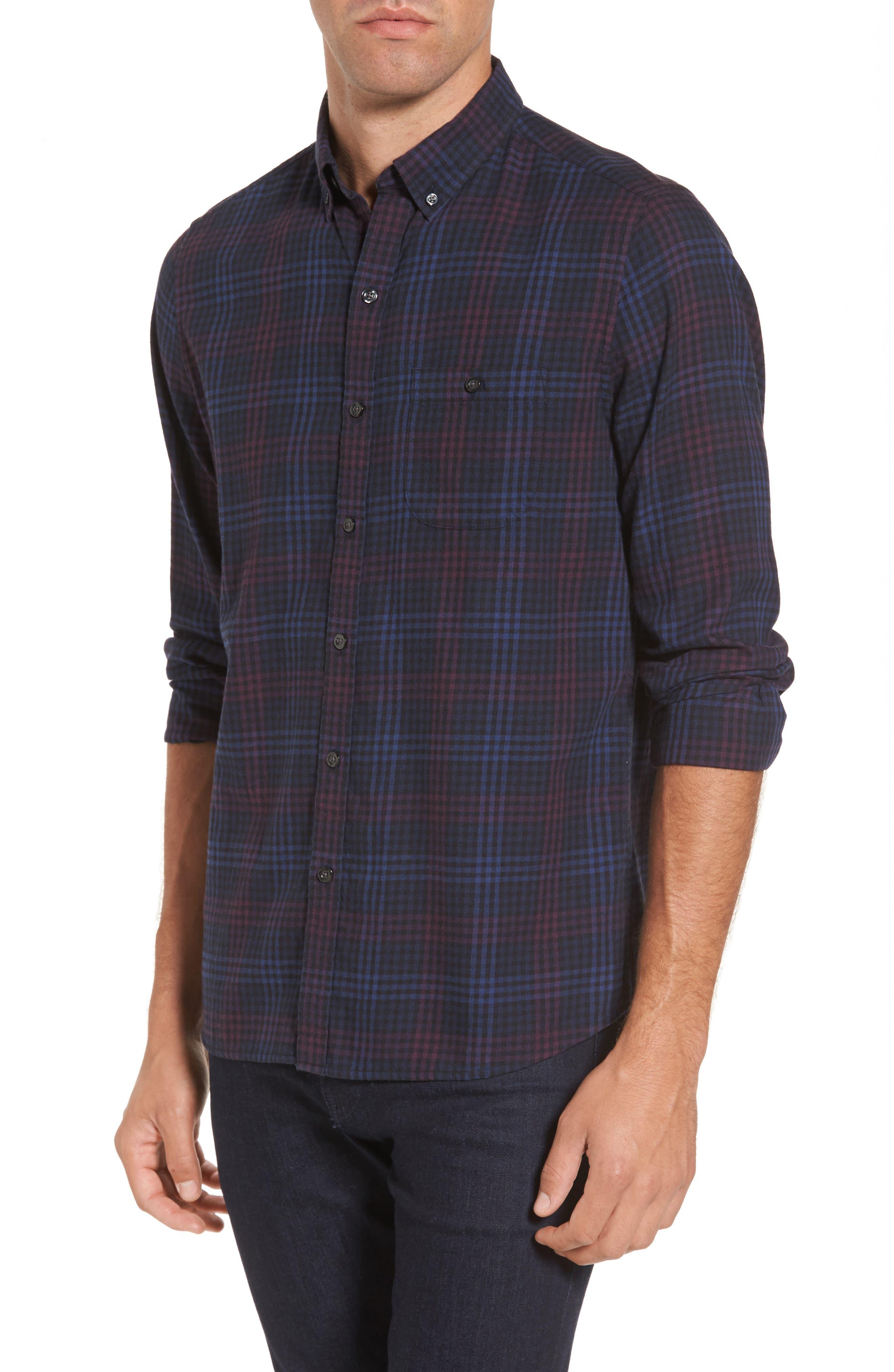 Trim Fit Plaid Flannel Sport Shirt,                         Main,                         color, 410