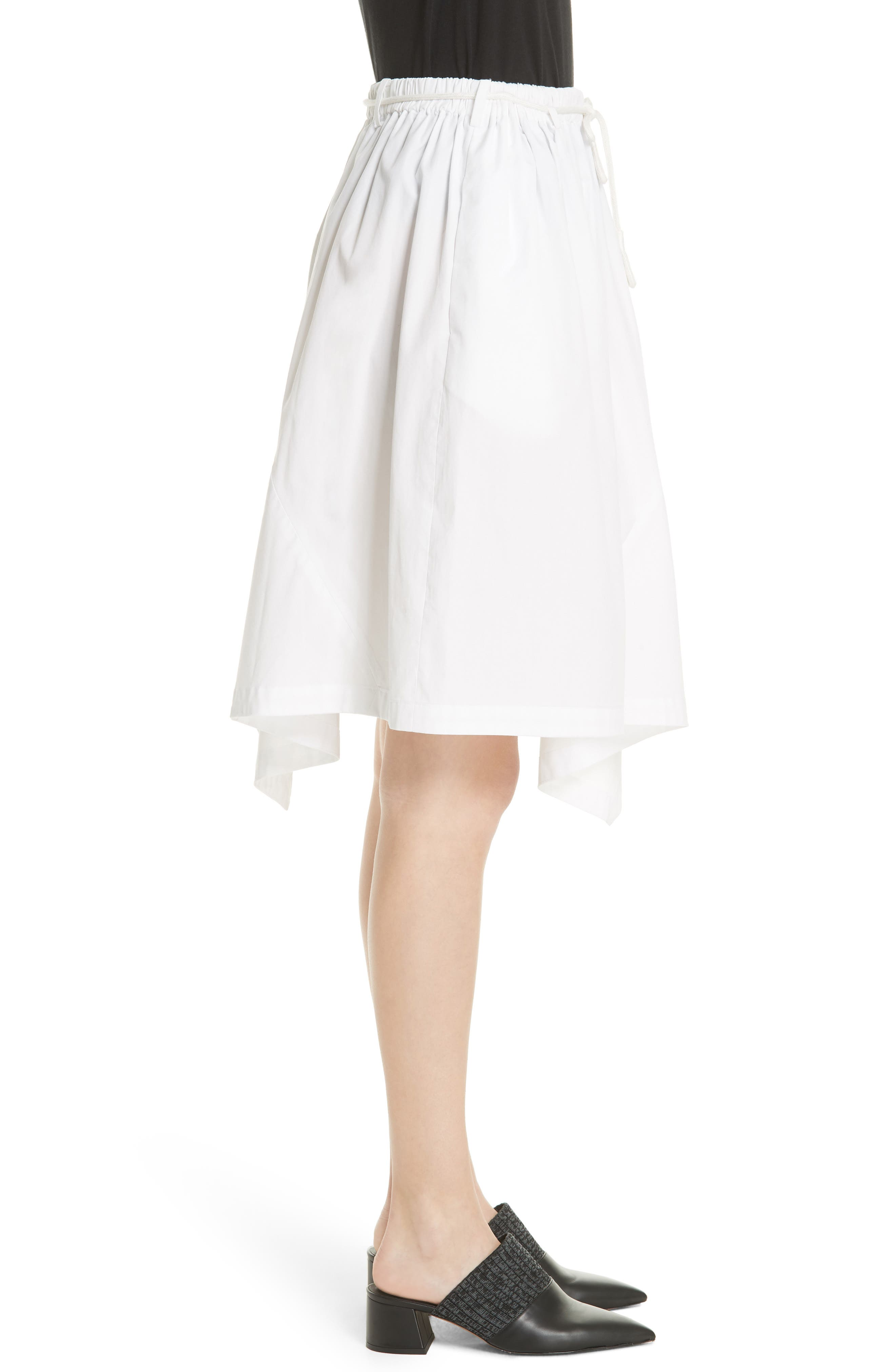 Asymmetrical Drawstring Cotton Skirt,                             Alternate thumbnail 3, color,                             137