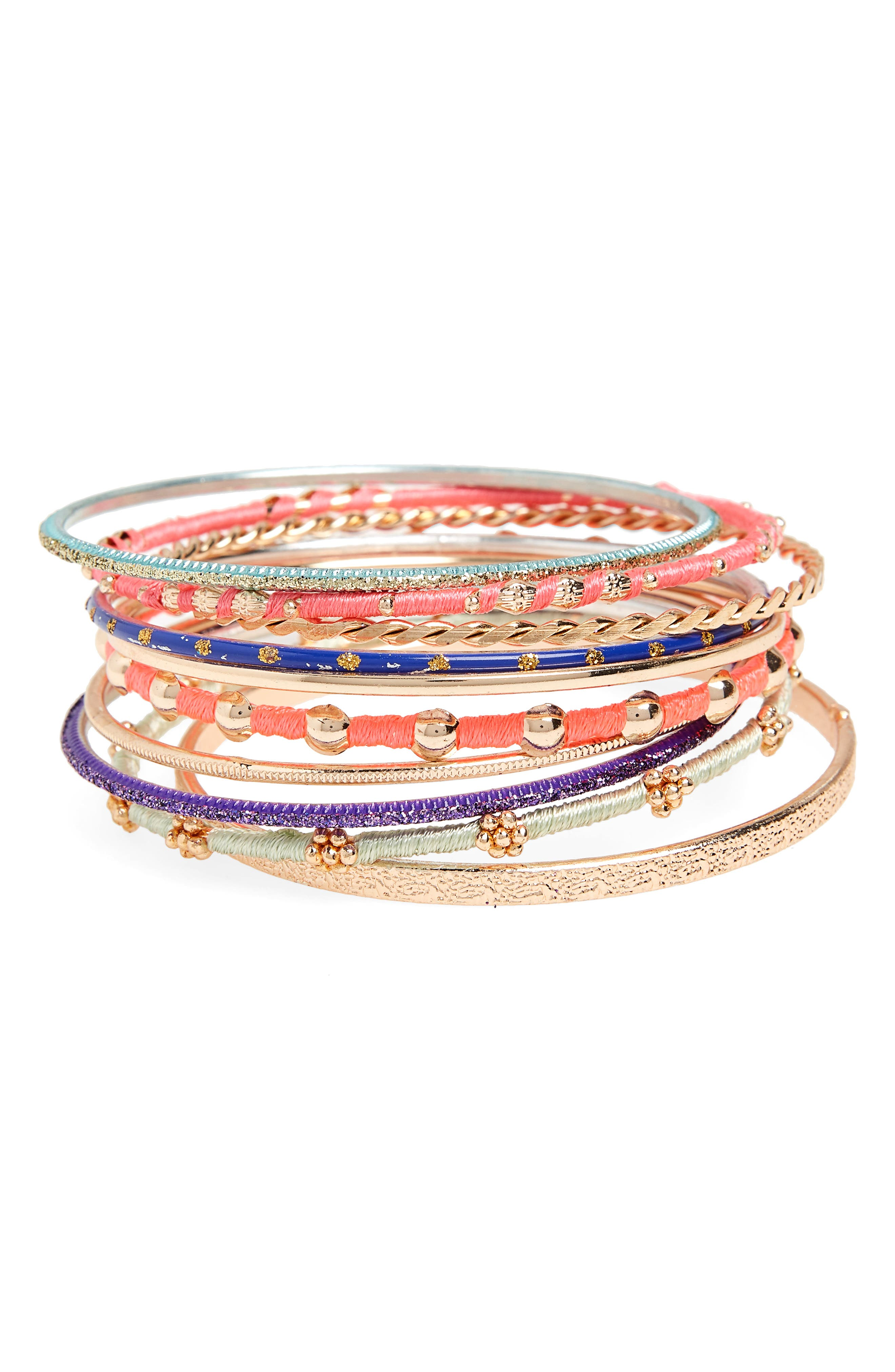 Set of 9 Bangles,                             Main thumbnail 1, color,                             650