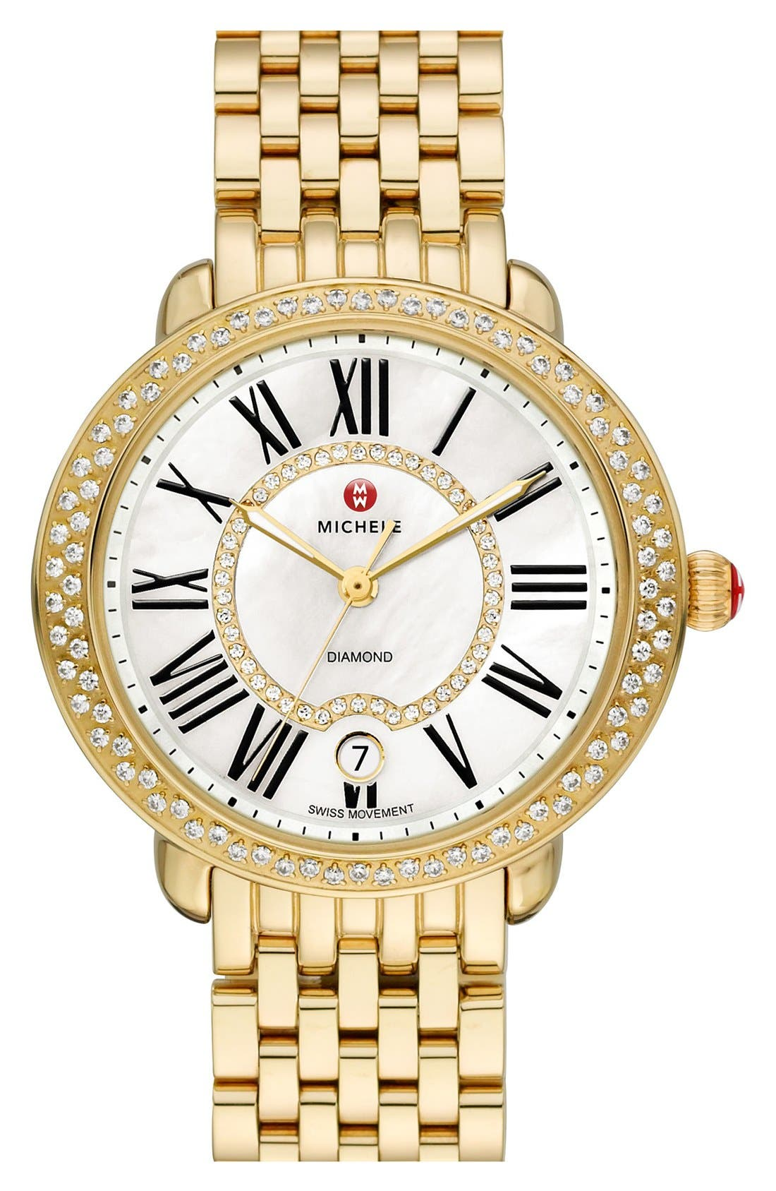 Serein 16 Diamond Gold Plated Watch Case, 34mm x 36mm,                             Alternate thumbnail 7, color,                             GOLD