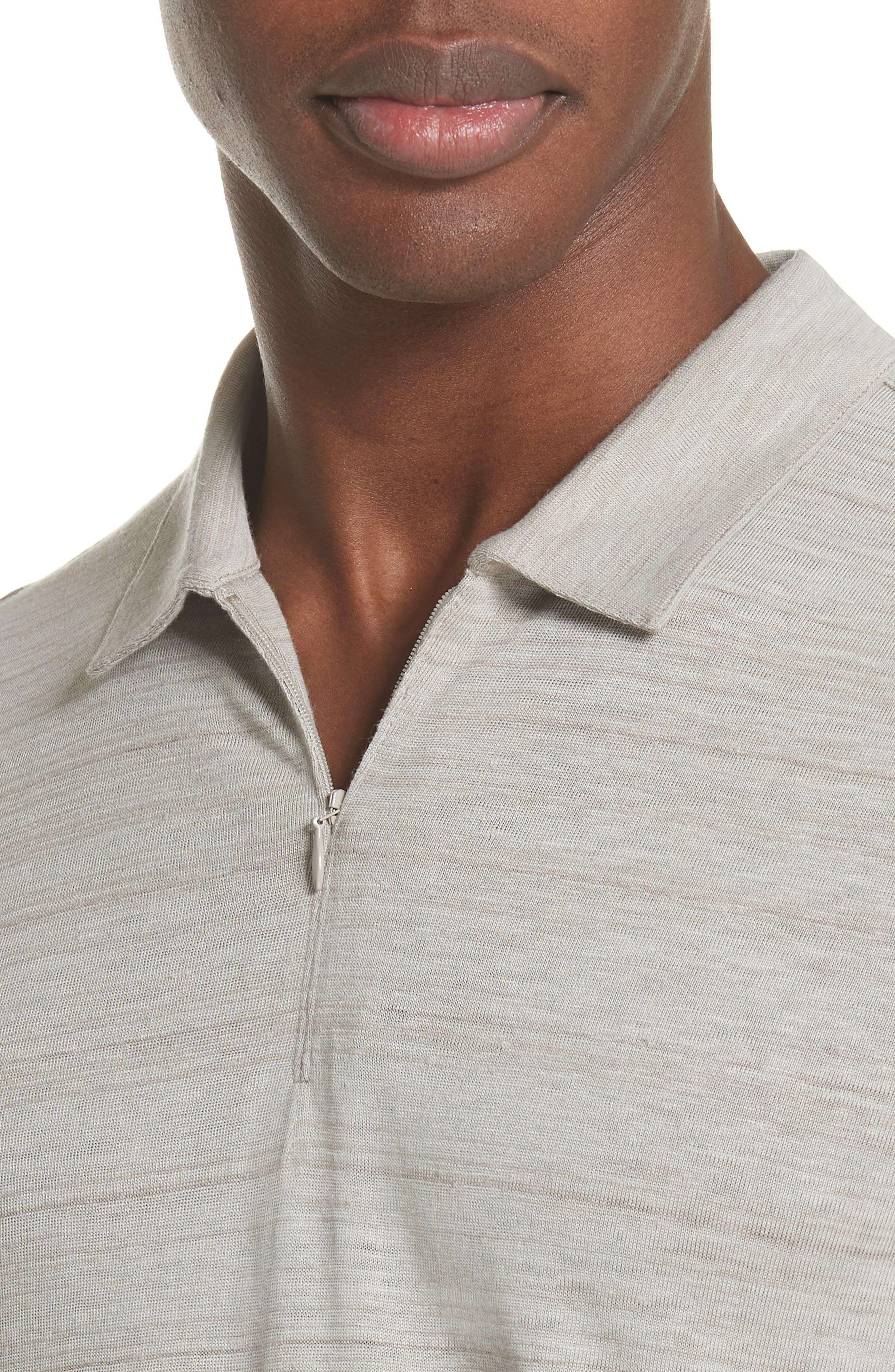 Stripe Zip Polo Shirt,                             Alternate thumbnail 4, color,                             WHEAT