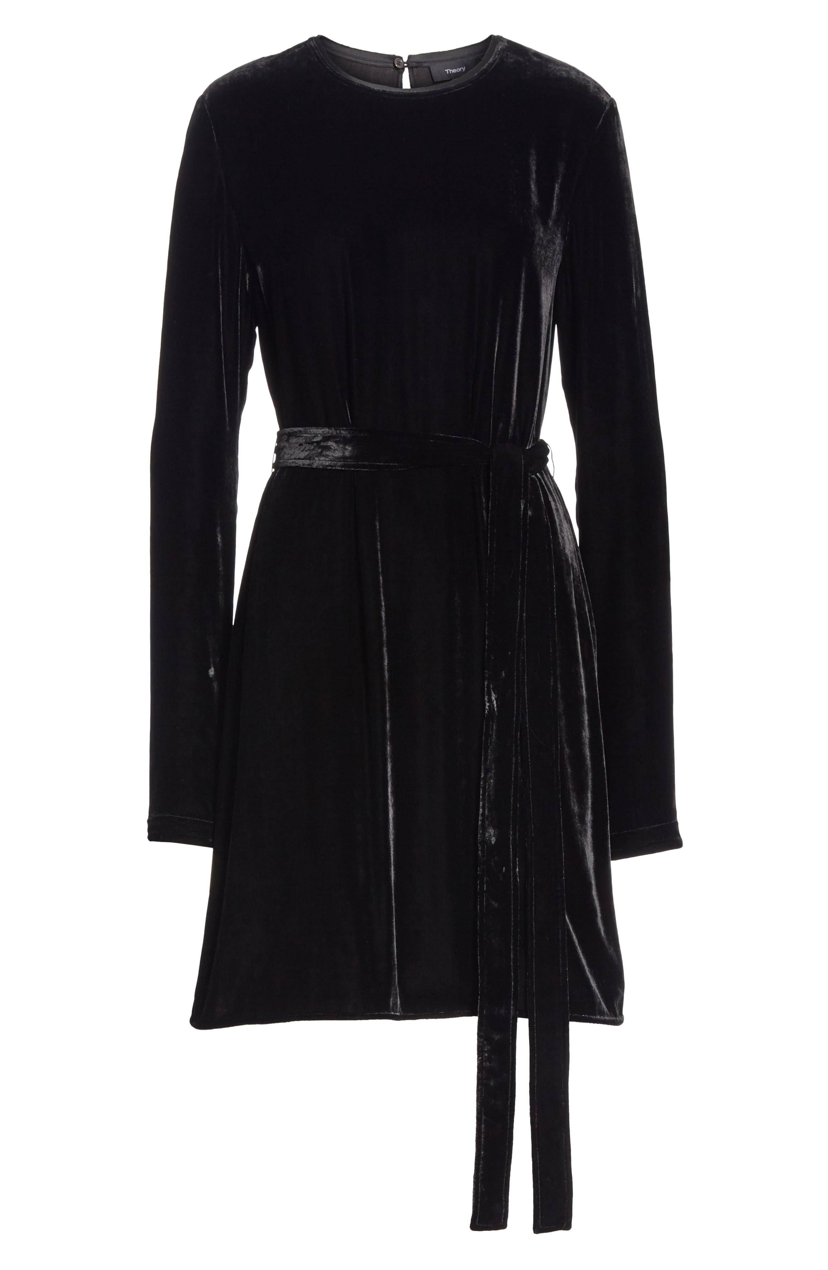 Belted Crinkled Velvet Dress,                             Alternate thumbnail 7, color,                             001