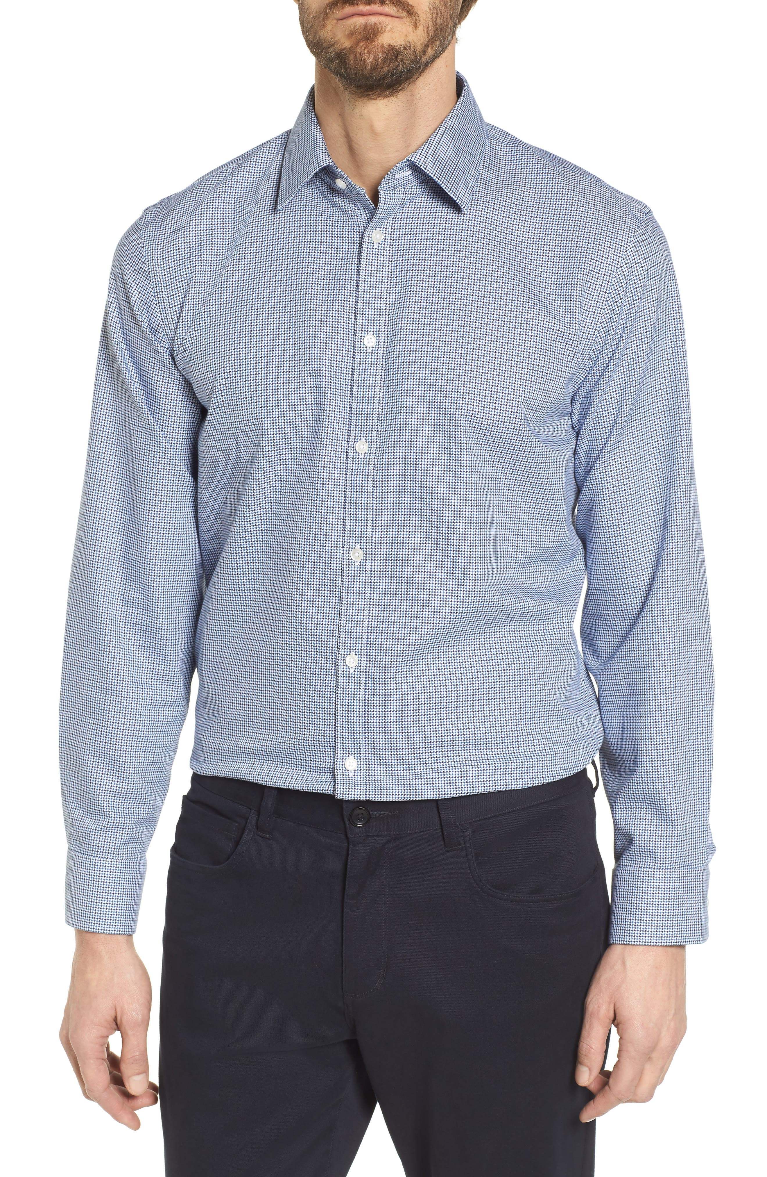 Smartcare<sup>™</sup> Extra Trim Fit Houndstooth Dress Shirt,                             Main thumbnail 1, color,                             410