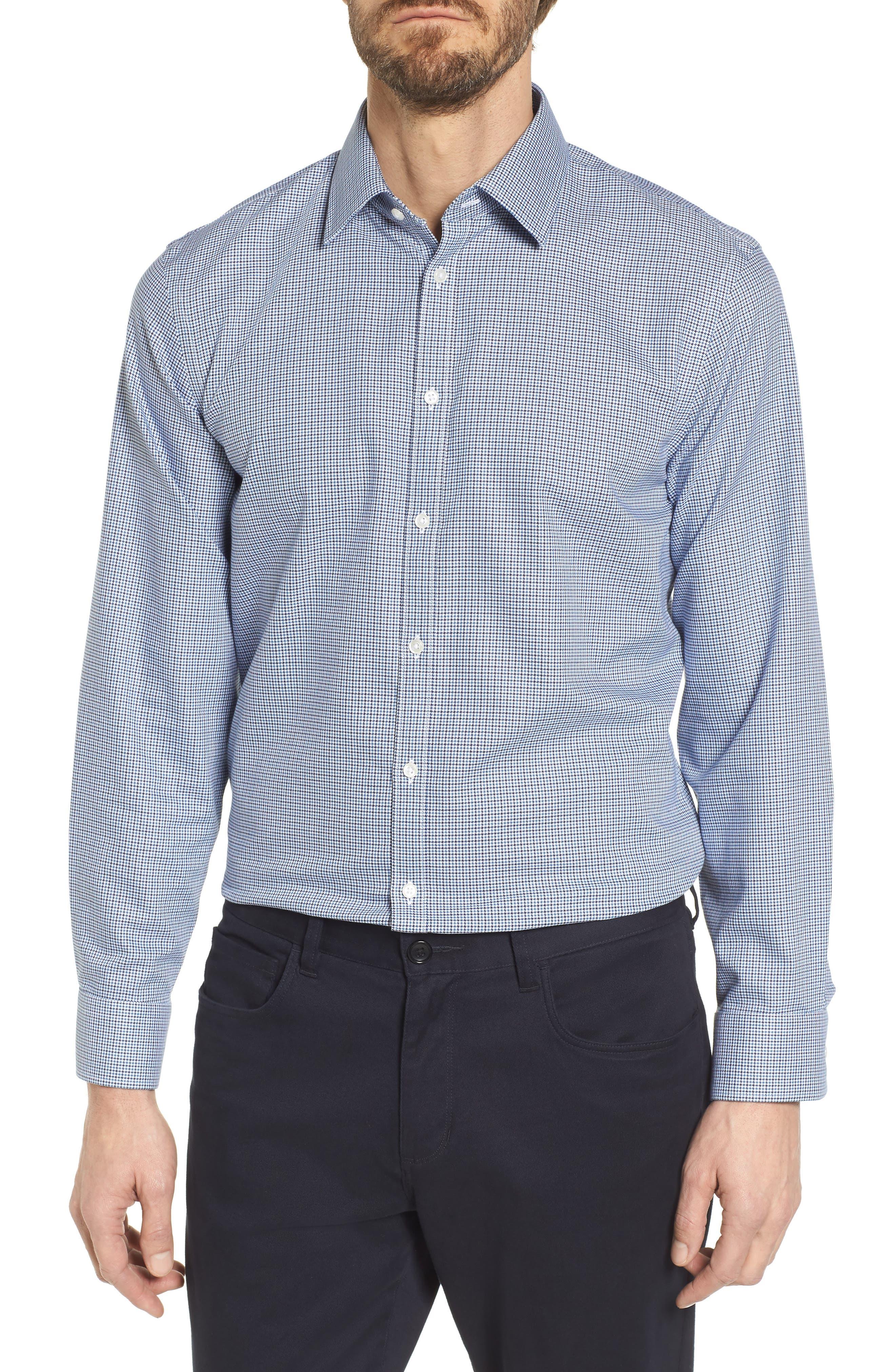 Smartcare<sup>™</sup> Extra Trim Fit Houndstooth Dress Shirt,                         Main,                         color, 410