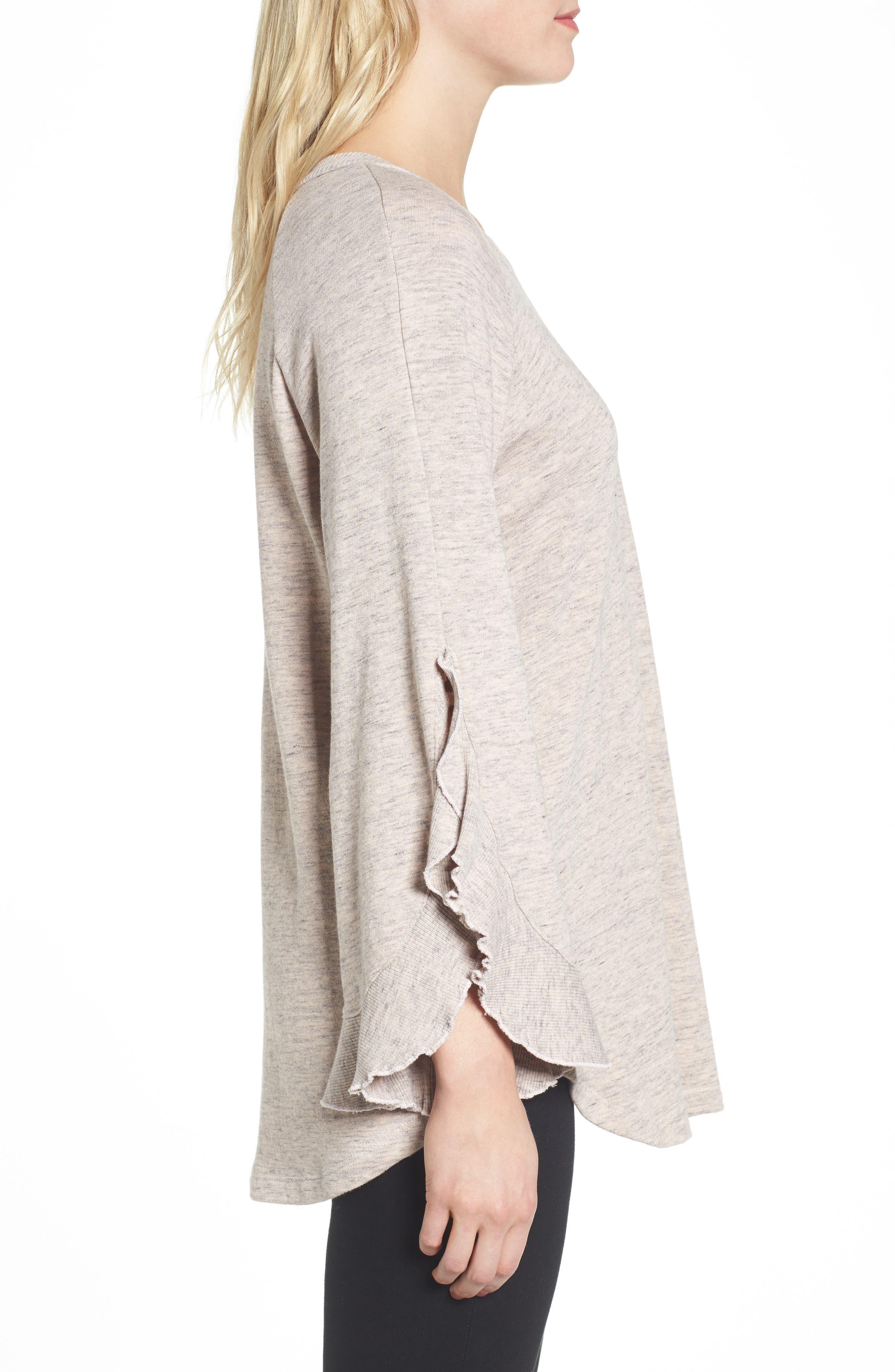 Ruffle Split Sleeve Cotton Sweatshirt,                             Alternate thumbnail 6, color,