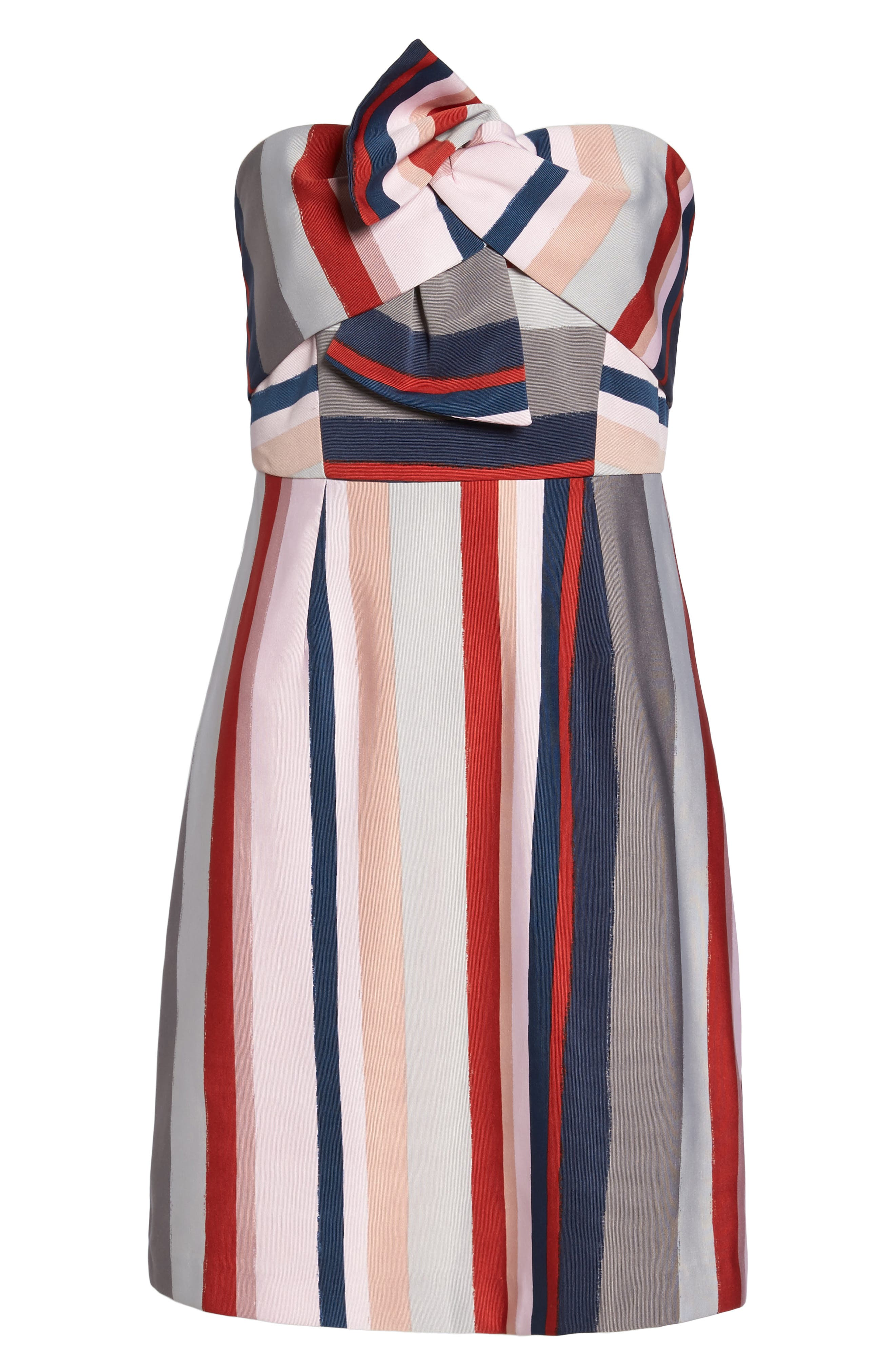 Stripe Strapless Dress,                             Alternate thumbnail 6, color,                             PINK/ GREY