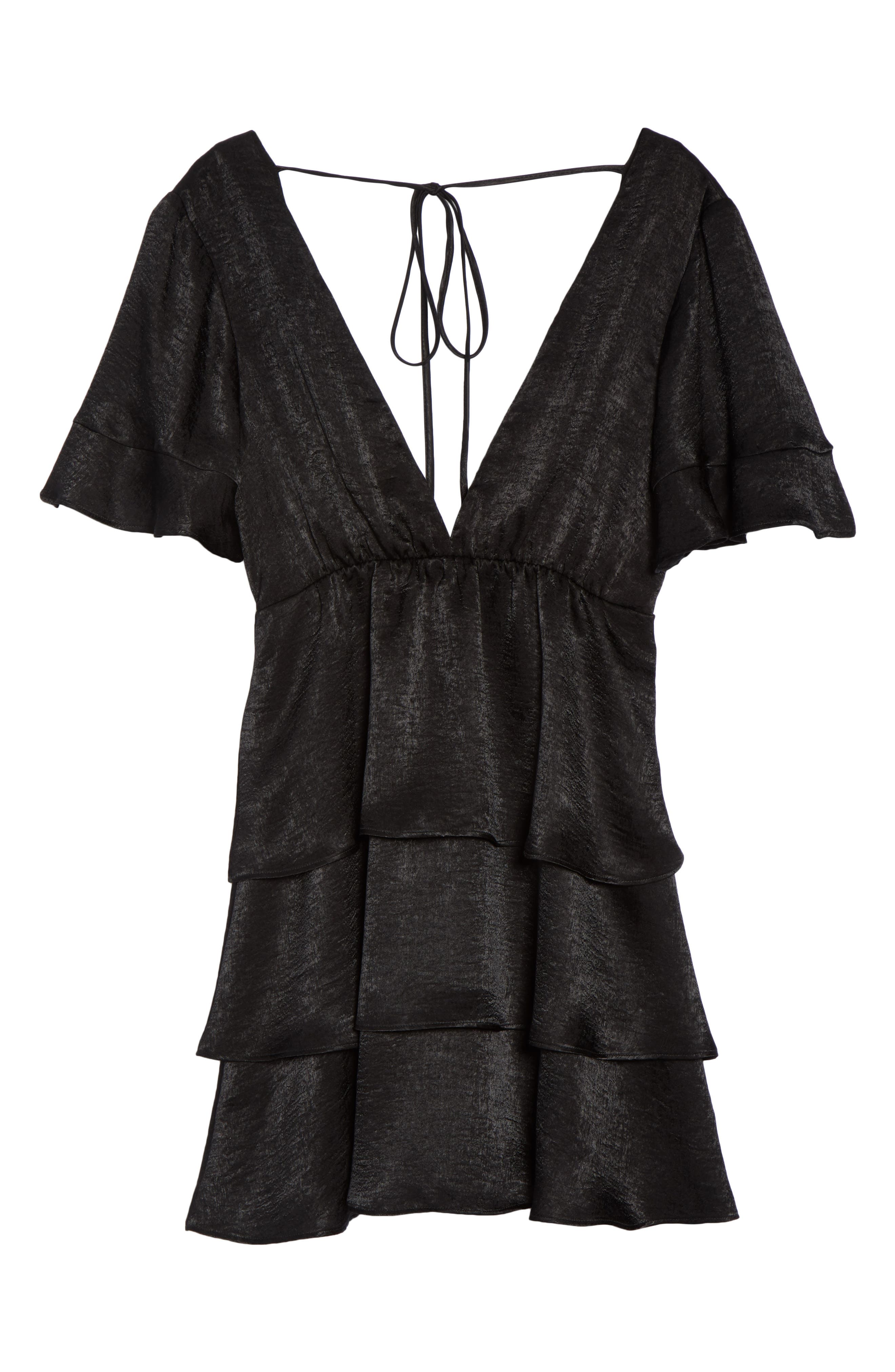 Dulce Minidress,                             Alternate thumbnail 7, color,                             BLACK SHEEN