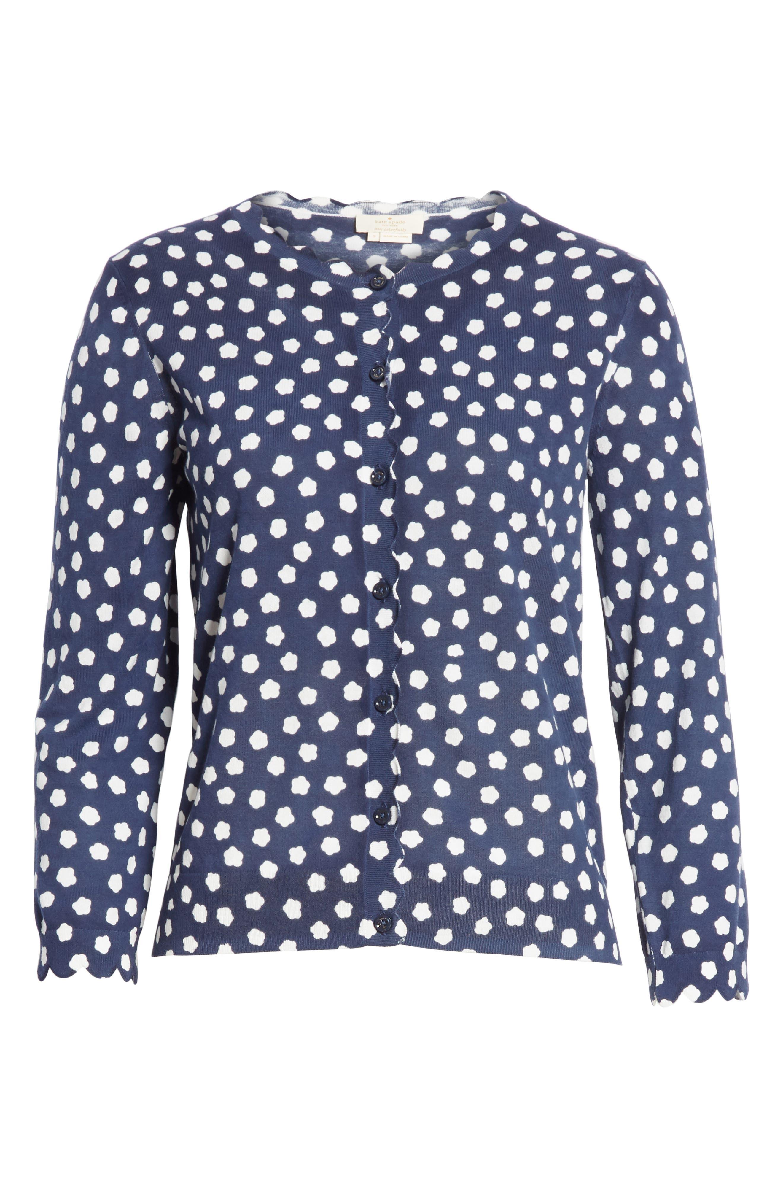 cloud dot scallop cotton cardigan,                             Alternate thumbnail 6, color,                             FRENCH NAVY/ FRESH WHITE