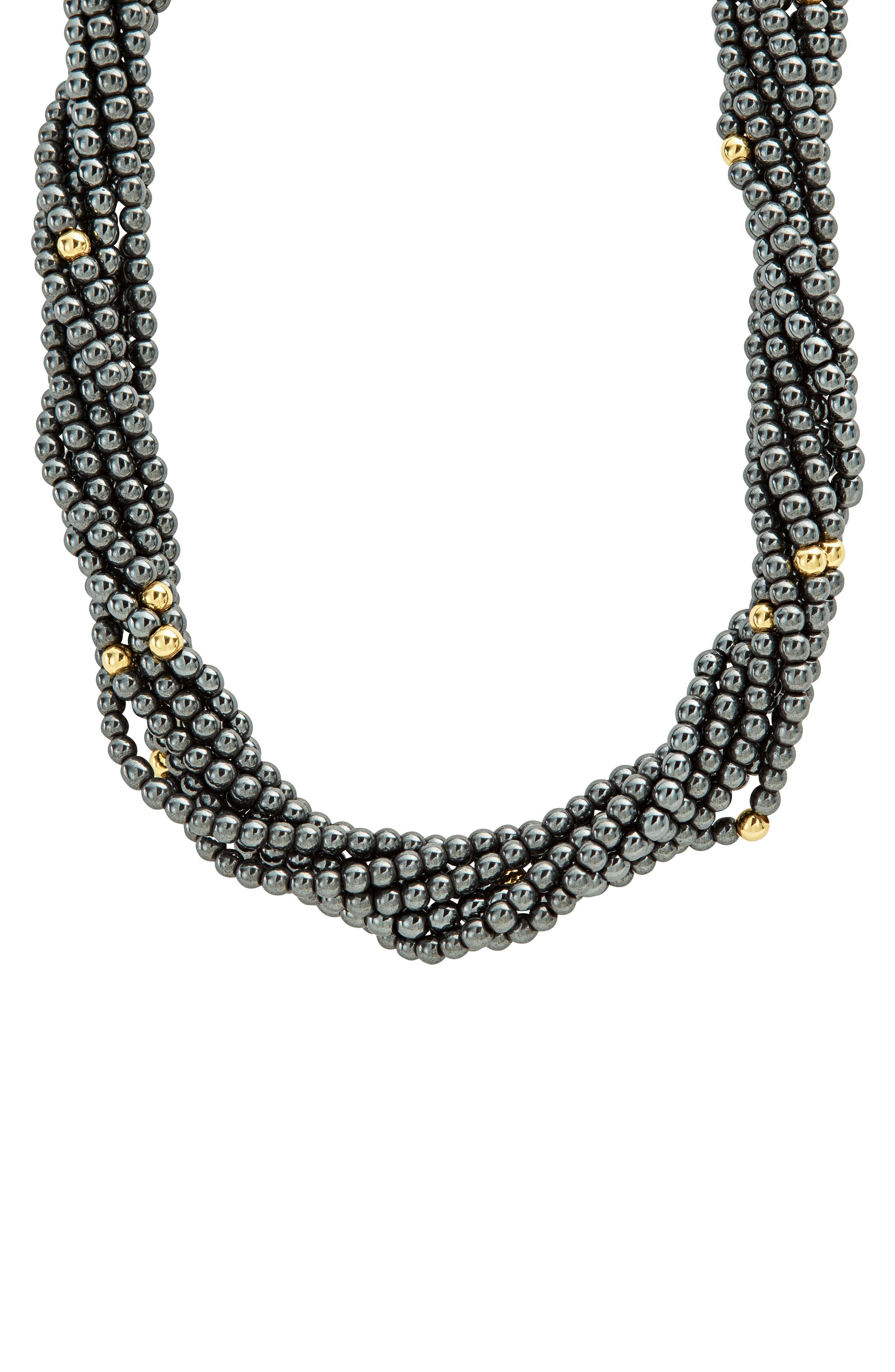 LAGOS,                             Caviar Icon Hematite Necklace,                             Main thumbnail 1, color,                             HEMATITE