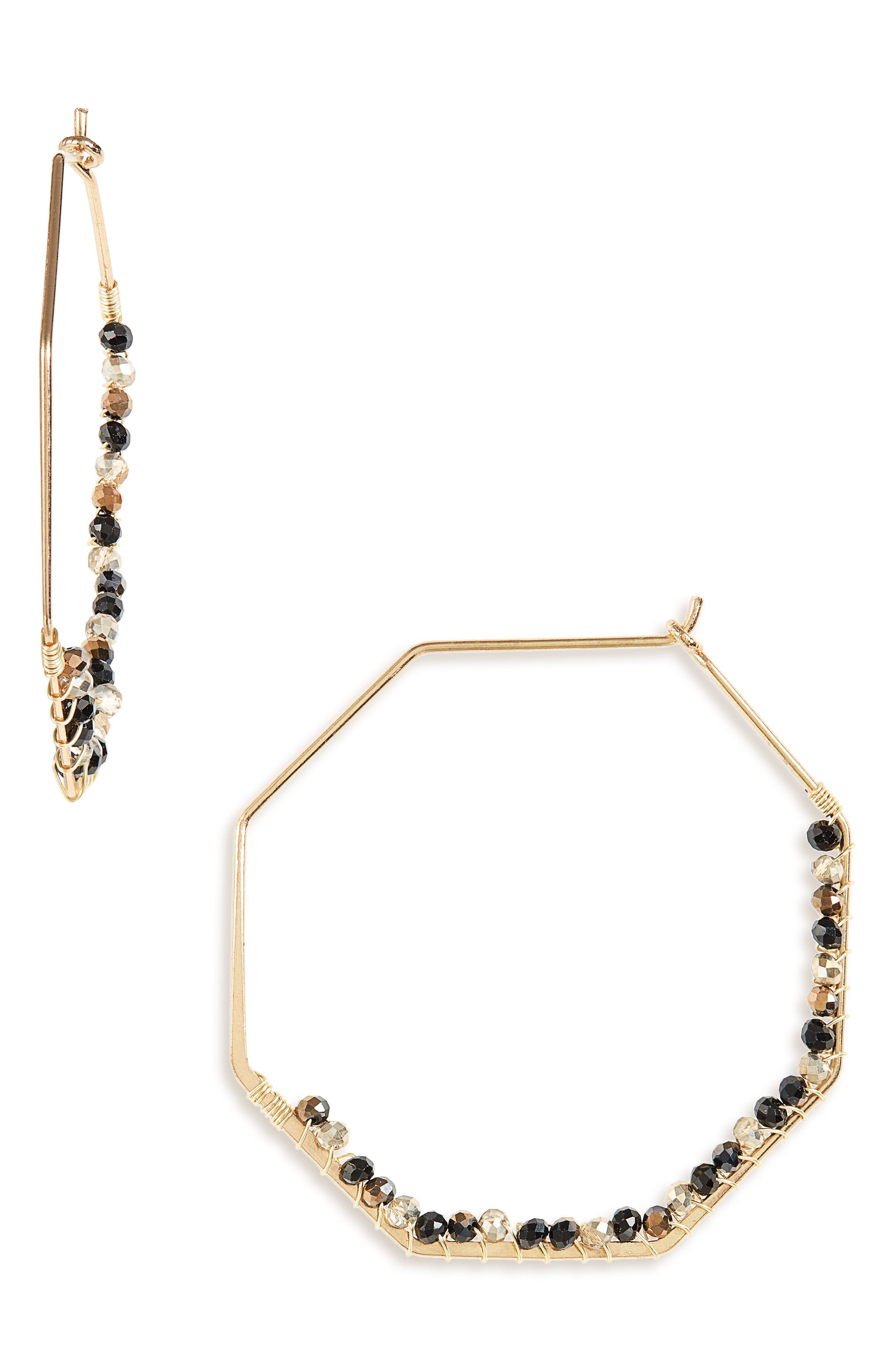 PANACEA Hexagon Hoop Earrings, Main, color, BLACK/ SMOKEY