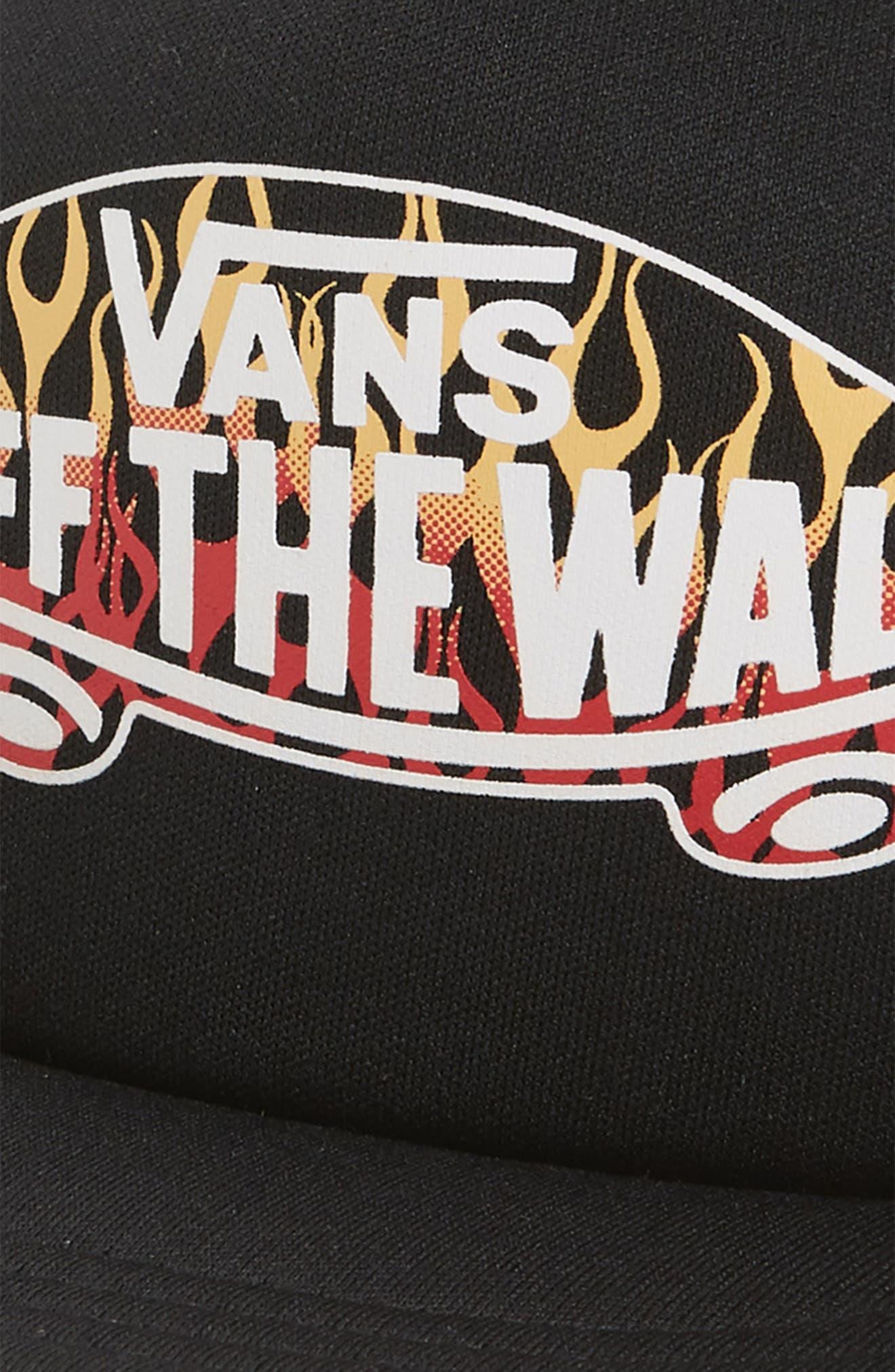 VANS,                             Classic Logo Print Trucker Hat,                             Alternate thumbnail 3, color,                             BLACK/ FLAMES