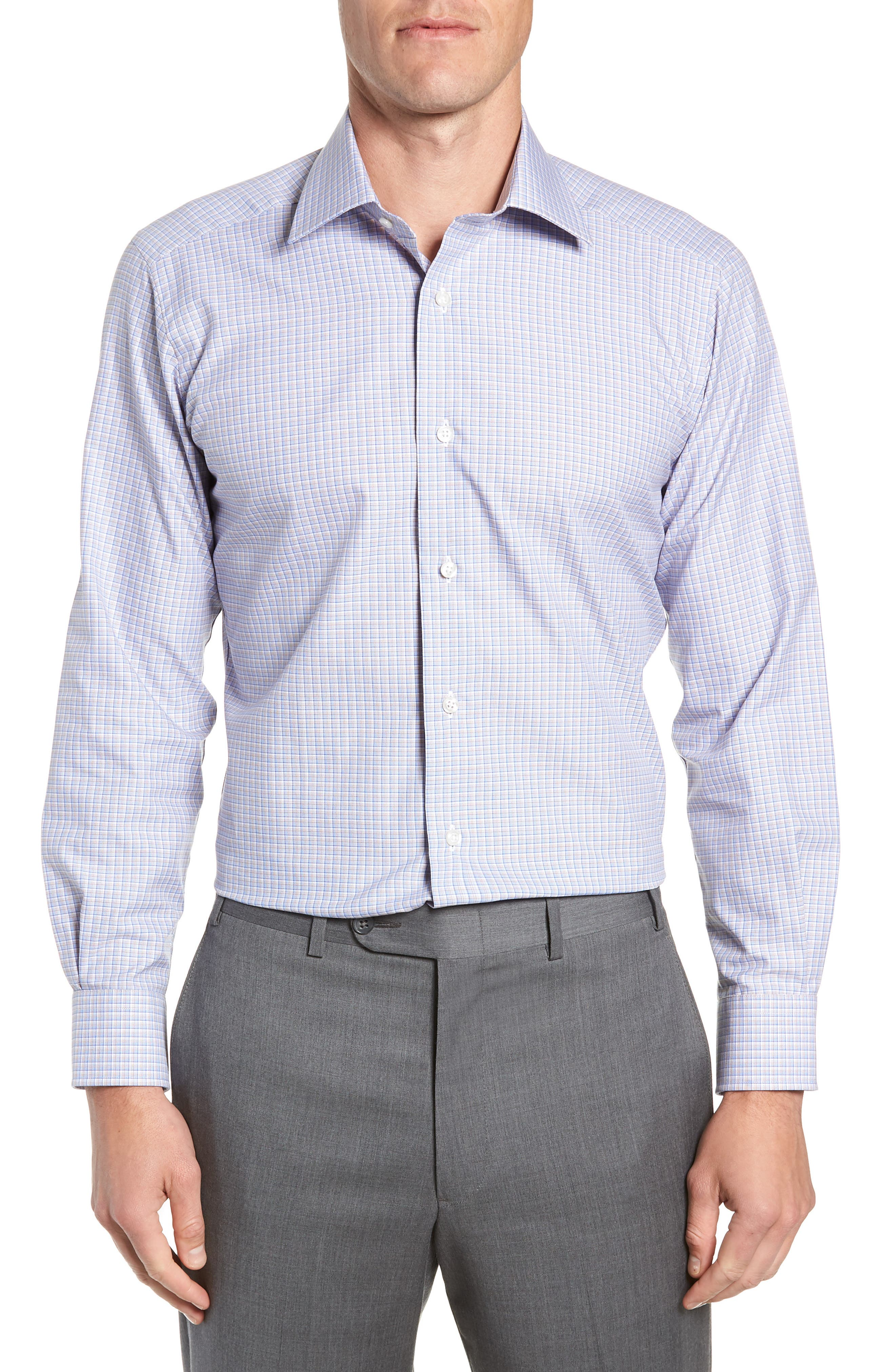 Trim Fit Check Dress Shirt,                         Main,                         color, CHOCOLATE