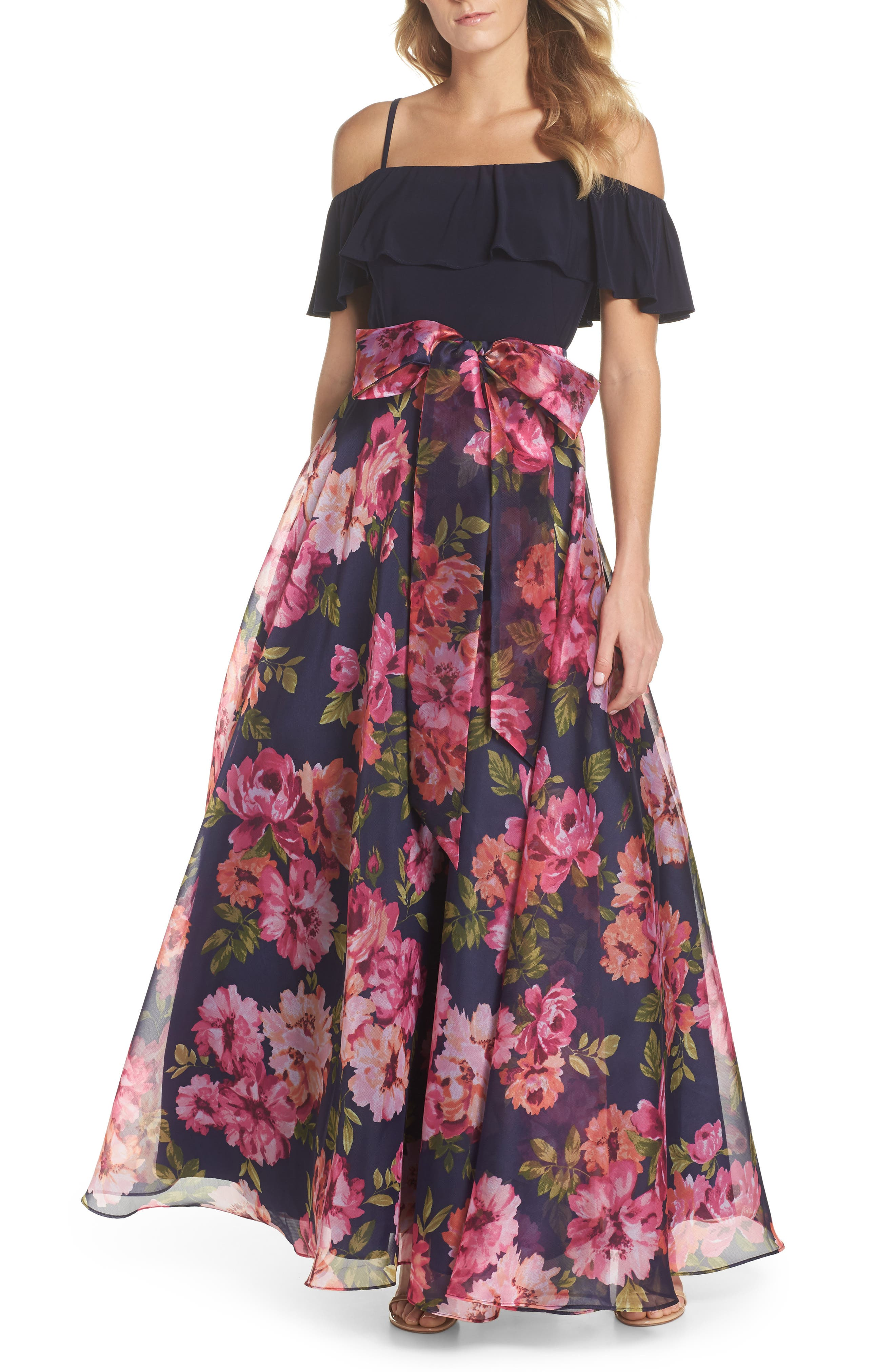 Cold Shoulder Ruffle Gown,                             Main thumbnail 1, color,                             NAVY MULTI