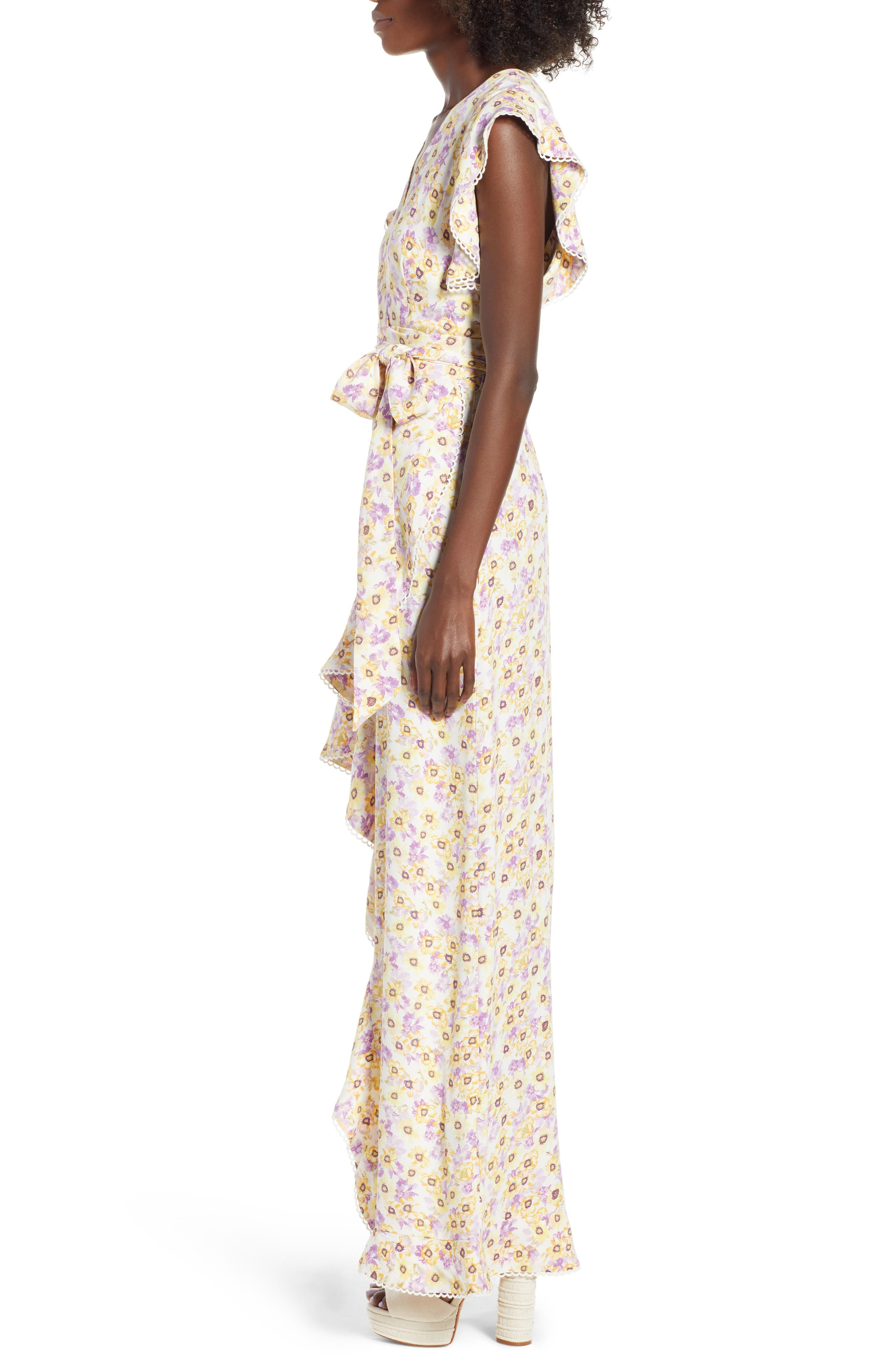 Andrea Ruffle Wrap Dress,                             Alternate thumbnail 9, color,